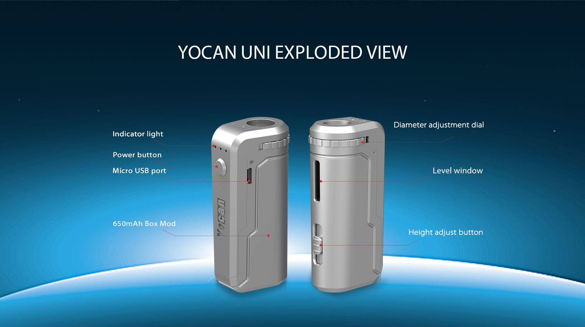 Yocan UNI exploded view.