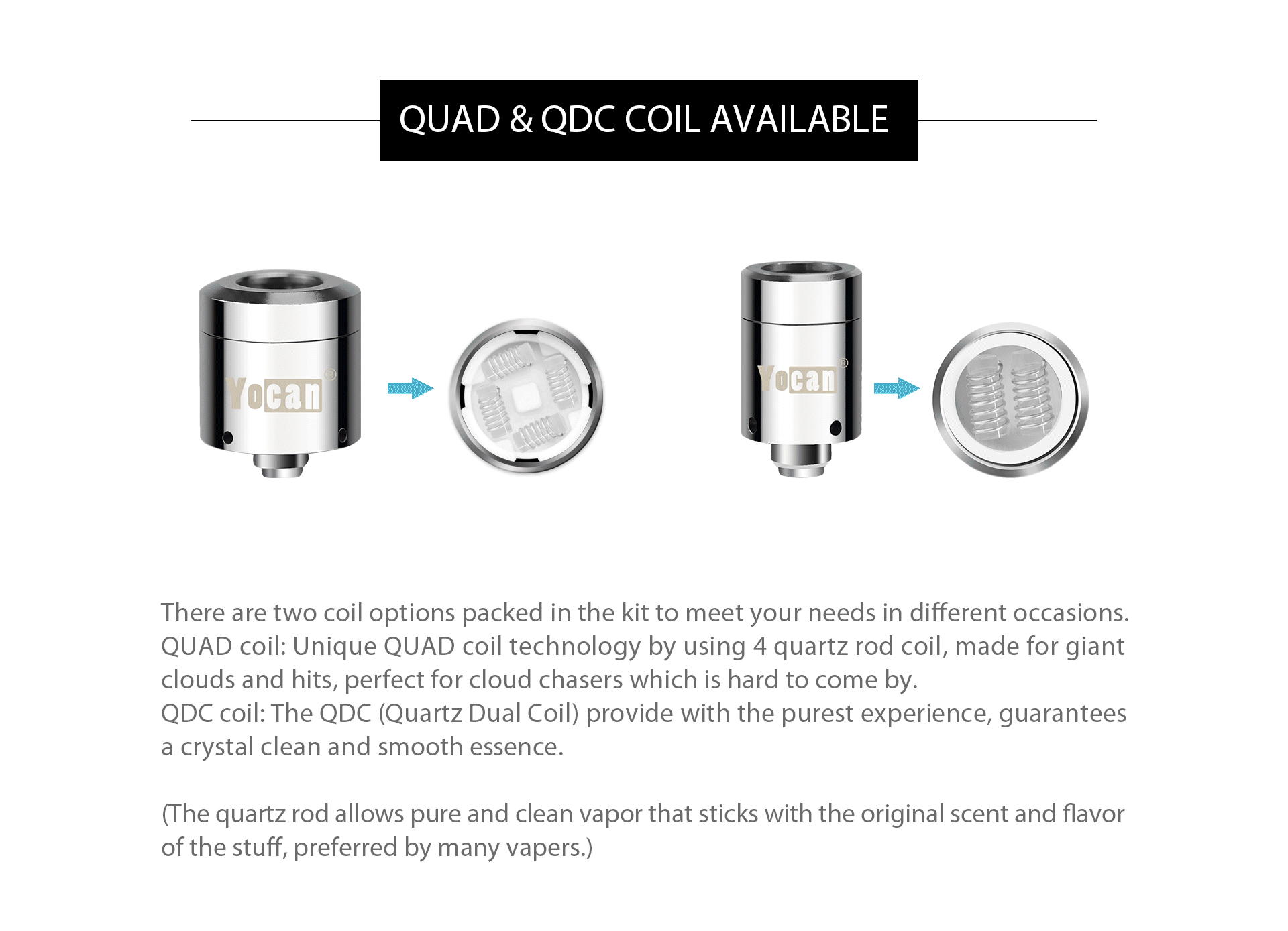 Yocan loaded provide two coil option: QUAD coil and QDC coil.