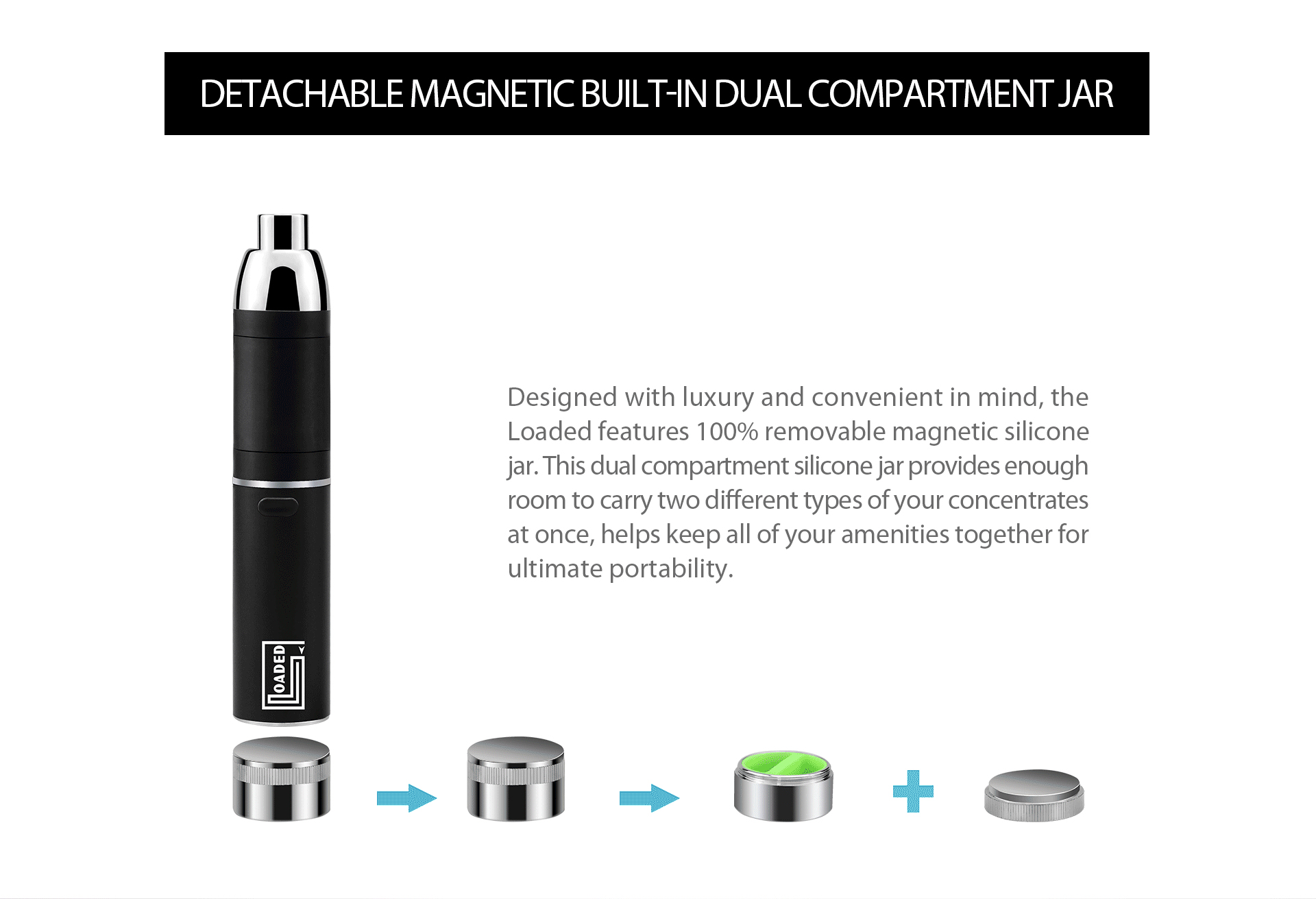 Yocan loaded features 100% removable magnetic silicone jar.