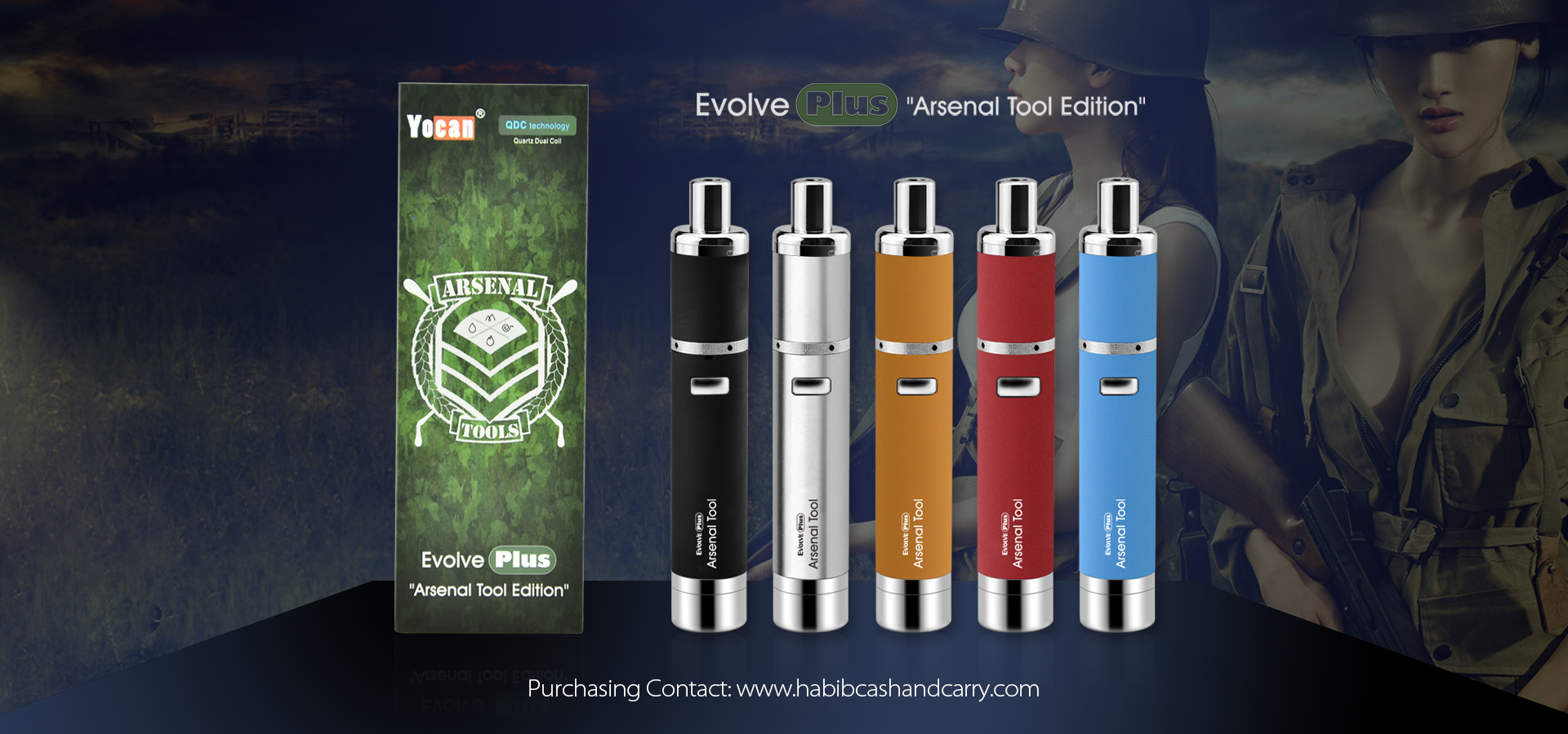 The Yocan Arsenal Edition Evolve Plus Vaporizer is portable, powerful and includes a cool rifle dab tool.