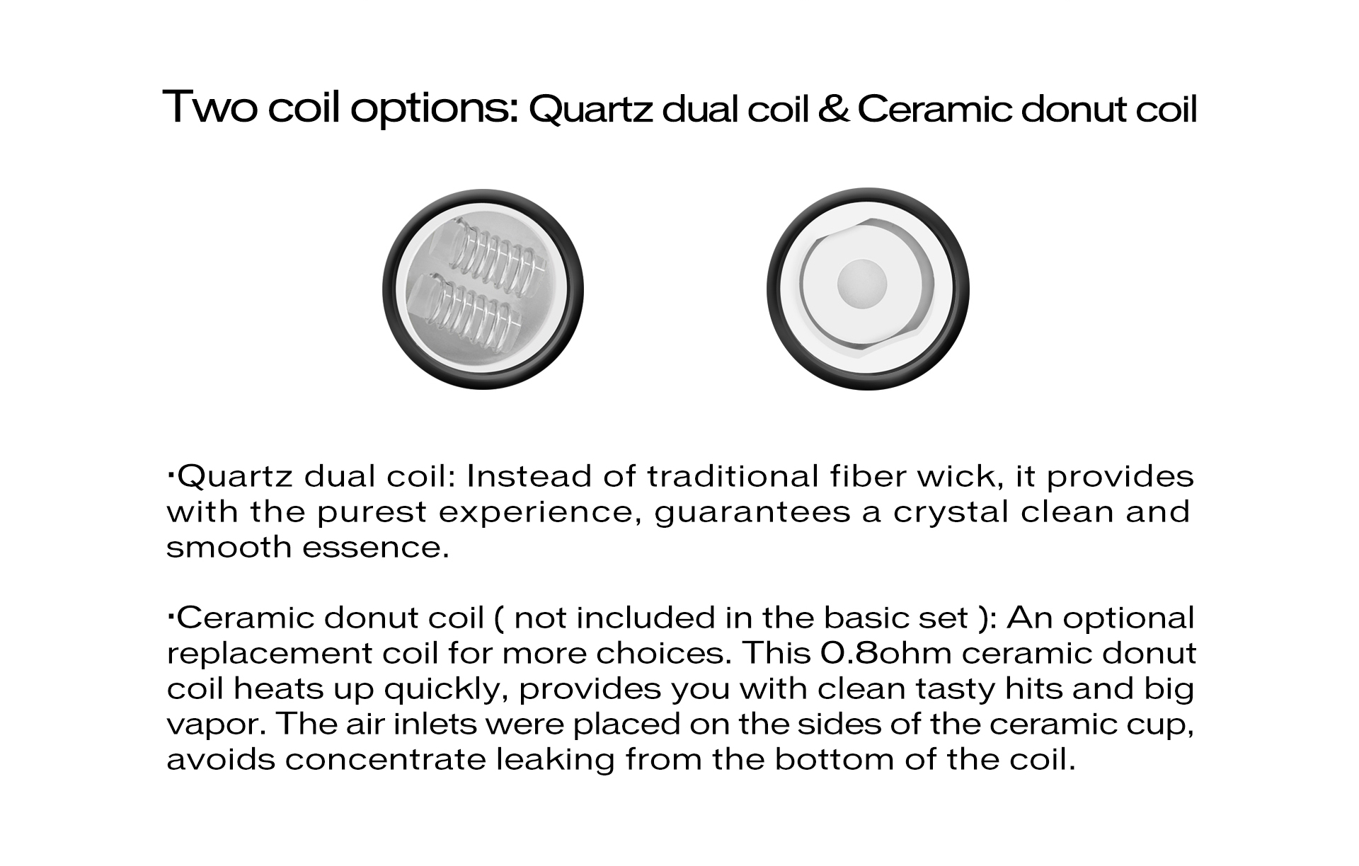 The Yocan Cerum is a full ceramic tank atomizer for that comes with two QDC quartz dual coil heating elements for wax.
