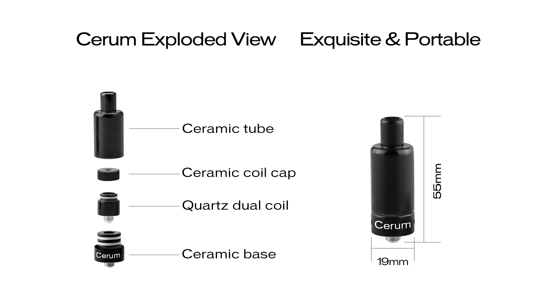 The Yocan Cerum Ceramic wax atomizer exploded view.