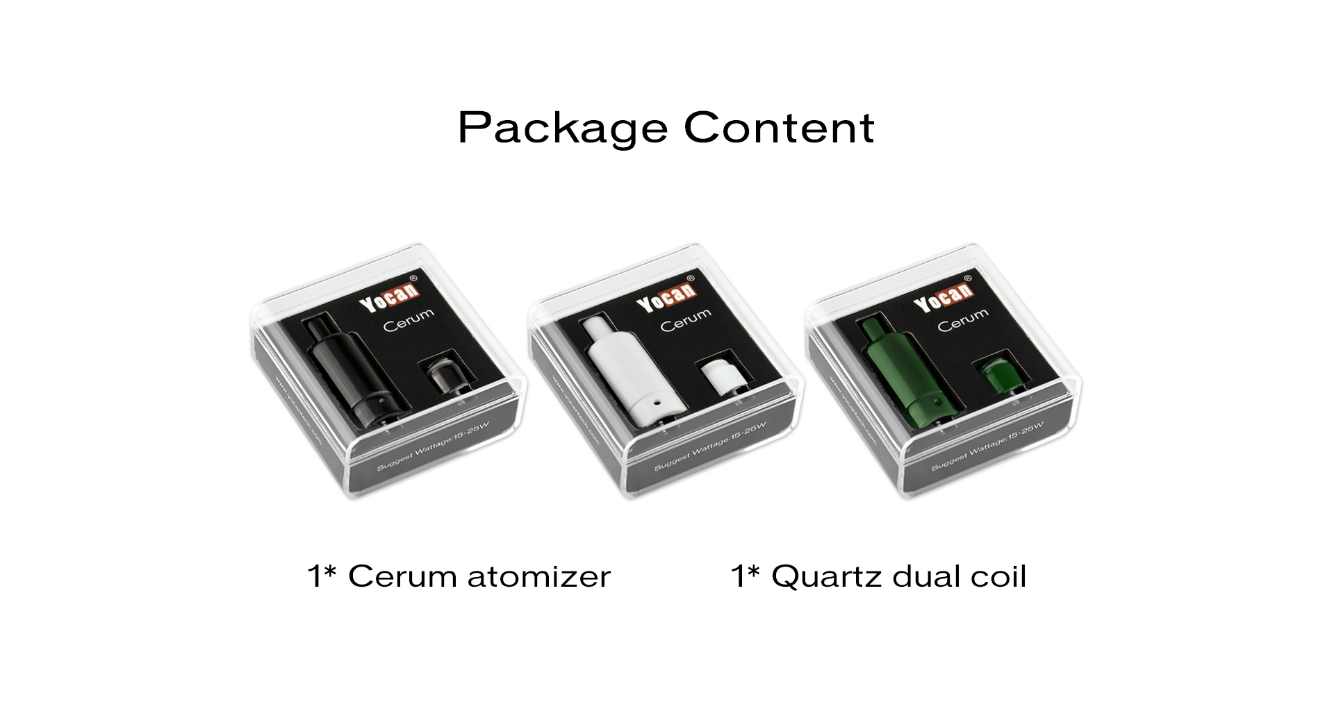 The Yocan Cerum Ceramic wax atomizer package content.