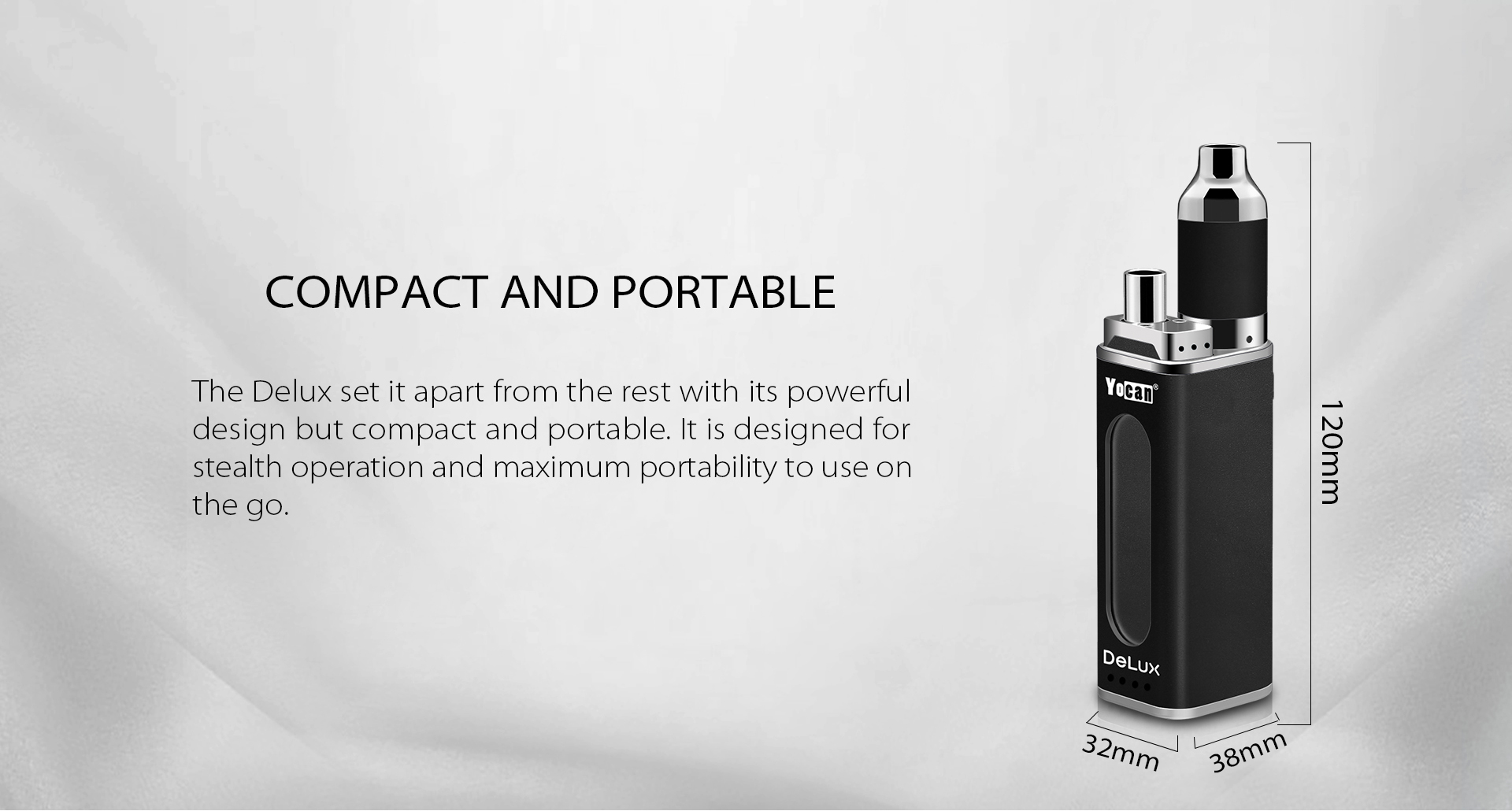 Yocan DeLux is compact and portable.