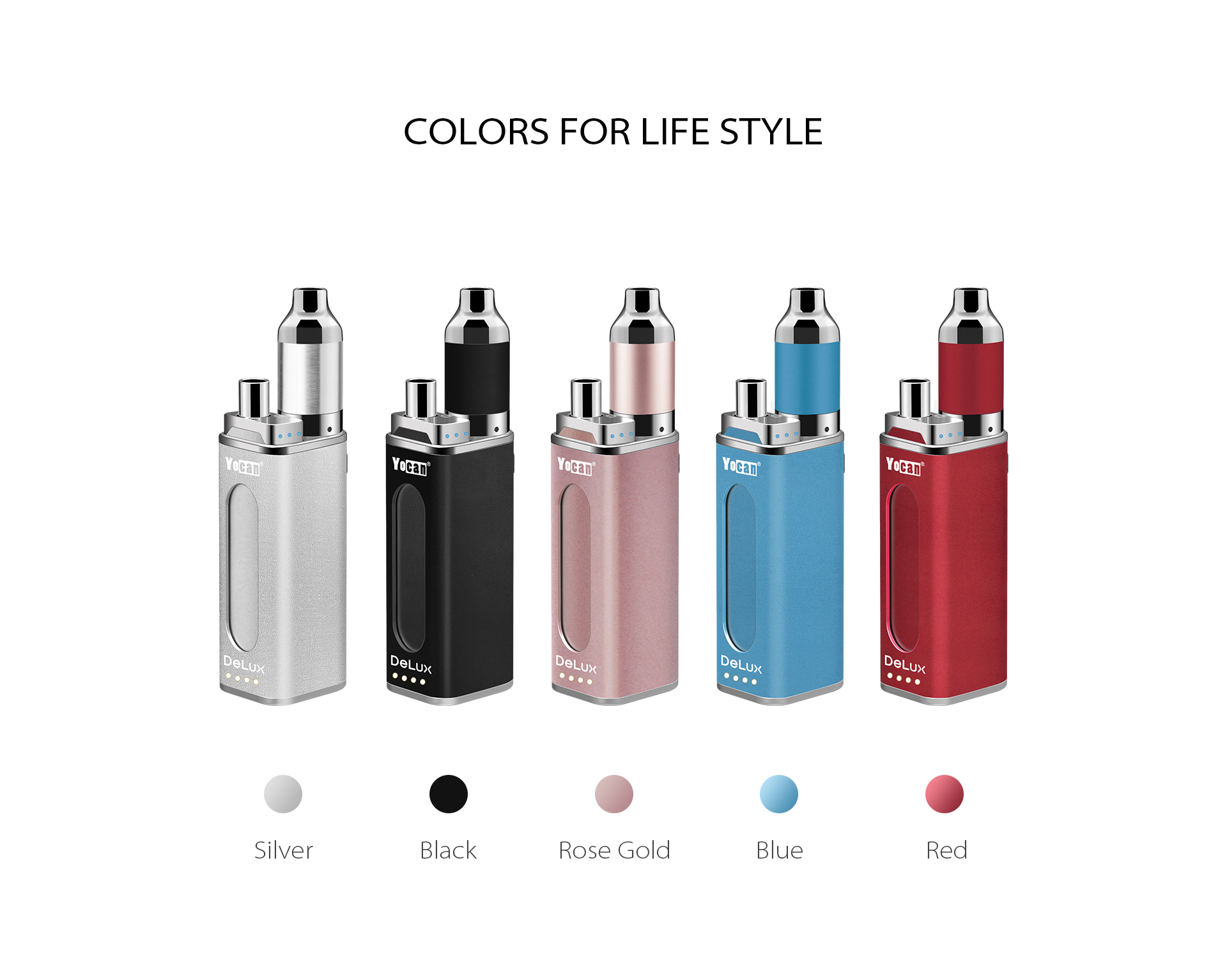 Yocan DeLux with five colors for lifestyle.