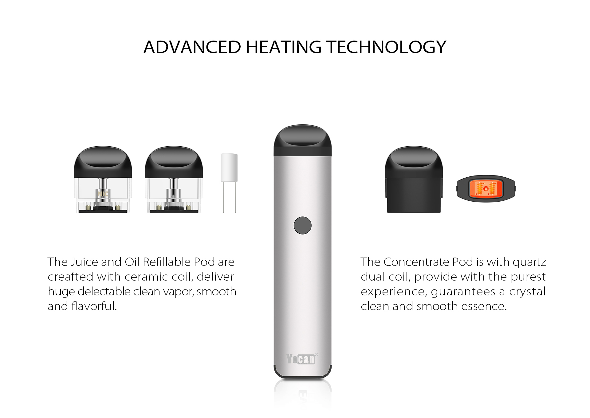 Yocan Evolve 2.0 features the Advanced Heating Technology