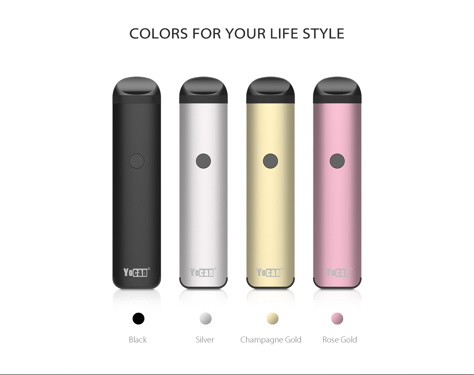The Yocan Evolve 2.0 comes with four colors: black, silver, champagne gold and rose gold.