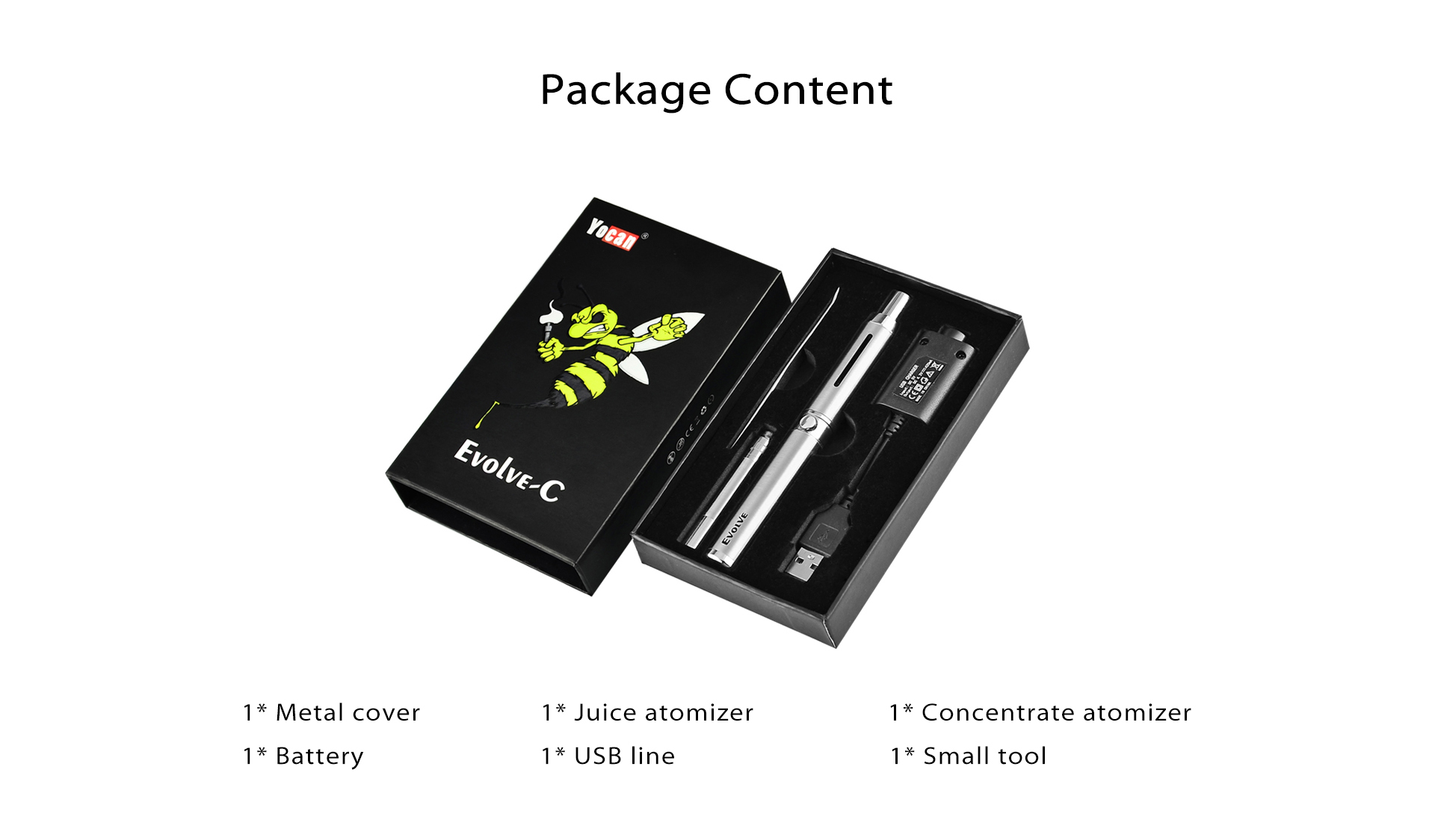 Yocan Evolve C Wax Oil Vaporizer Pen kit package content.