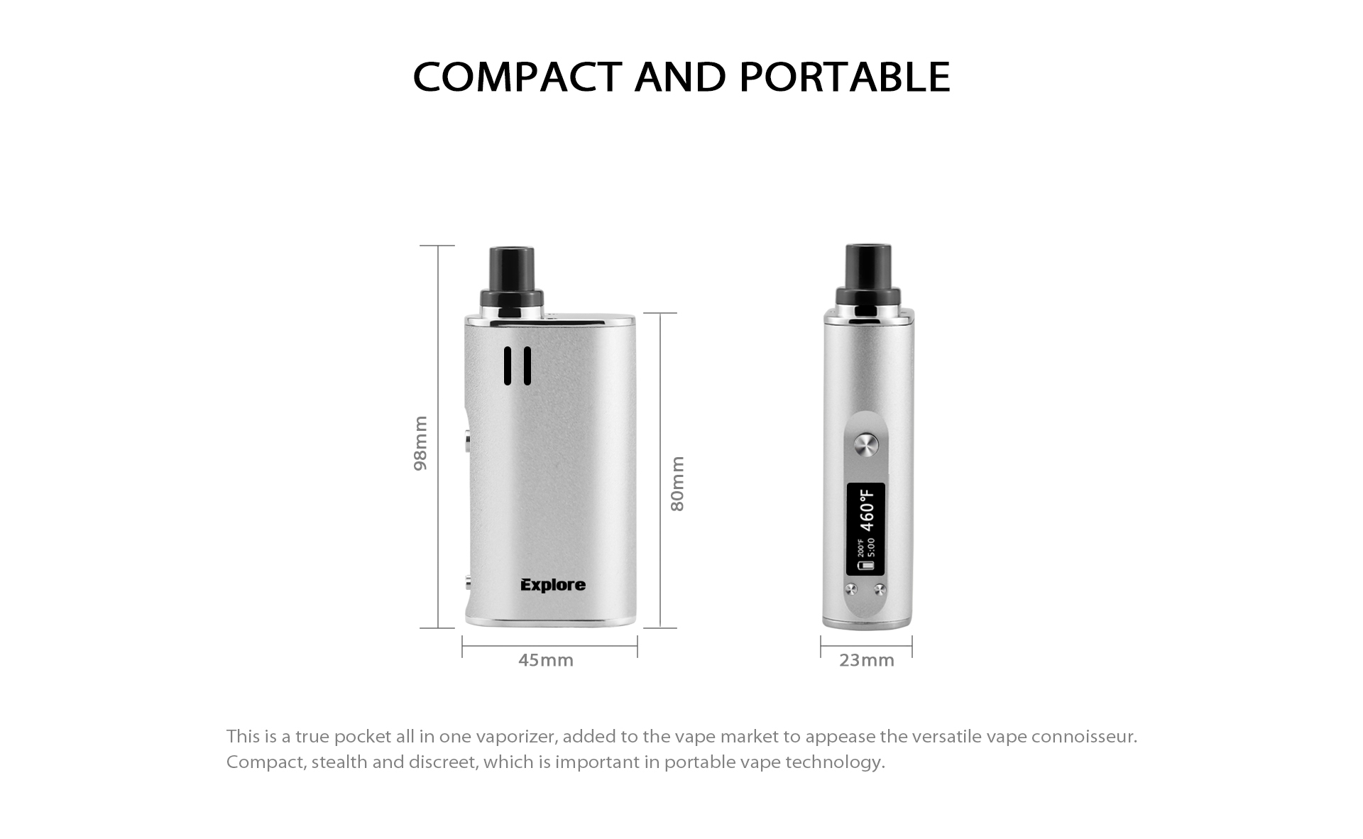 The Yocan Explore is a 2-in-1 Vaporizer that compact and portable.