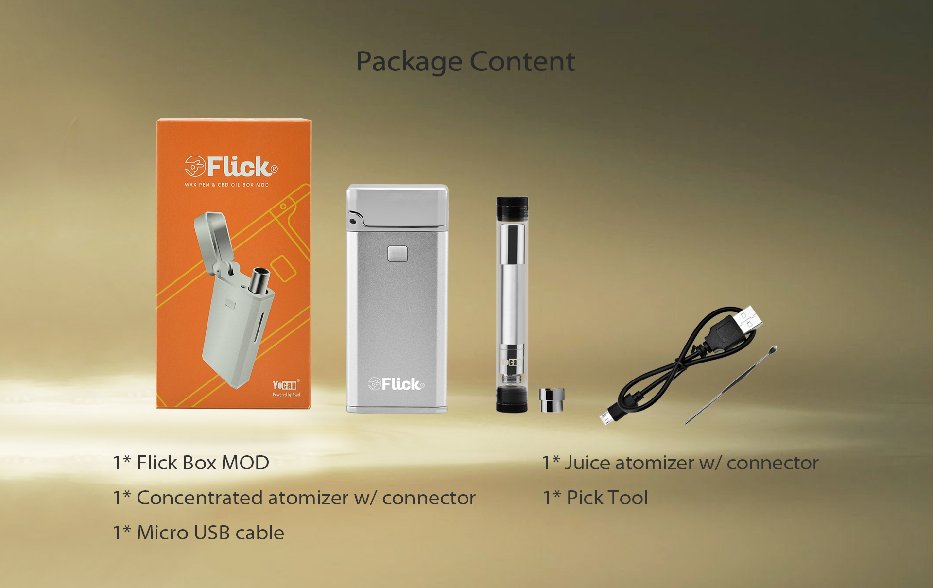 Yocan Flick package content.