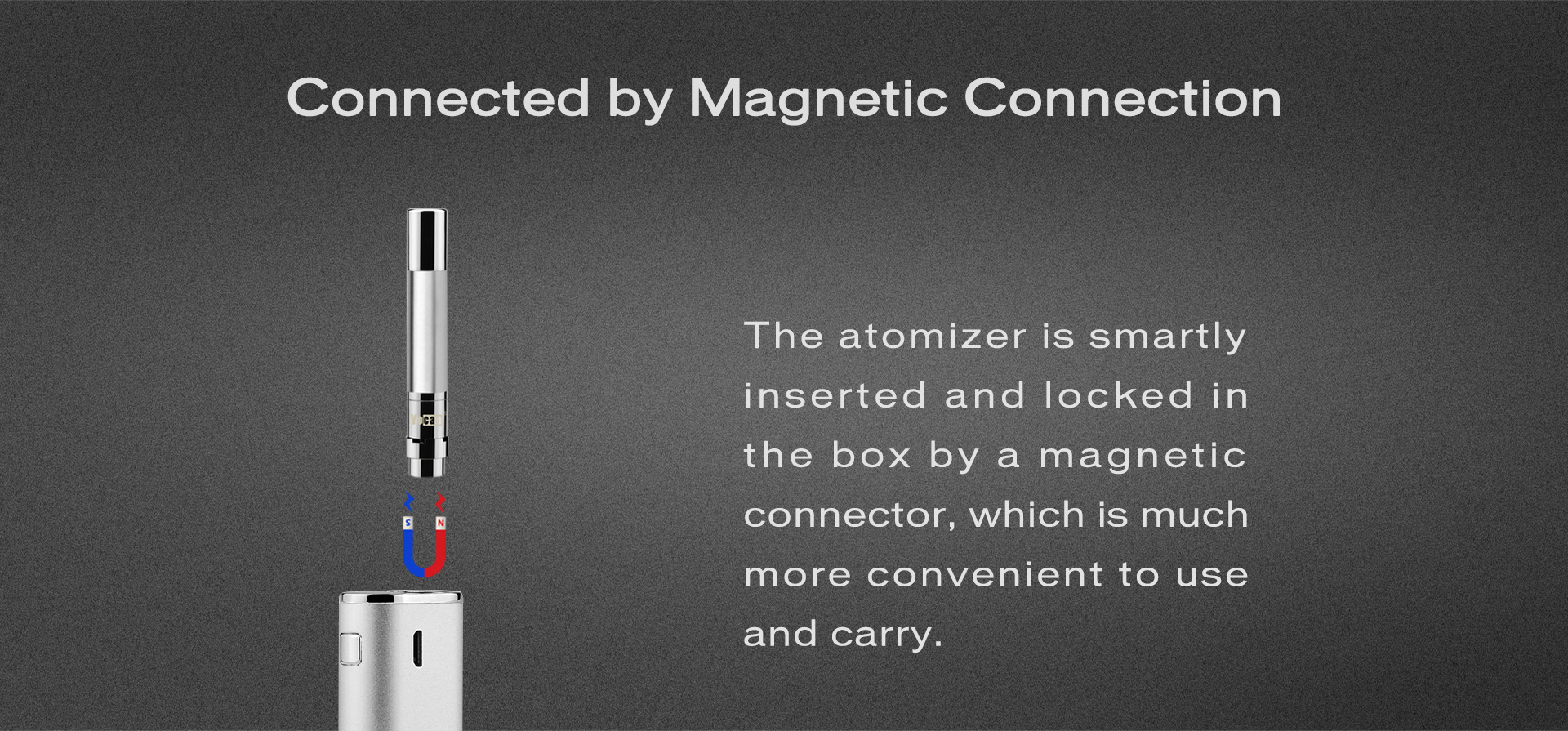 The Yocan Hive atomizer connected by magnetic connection.