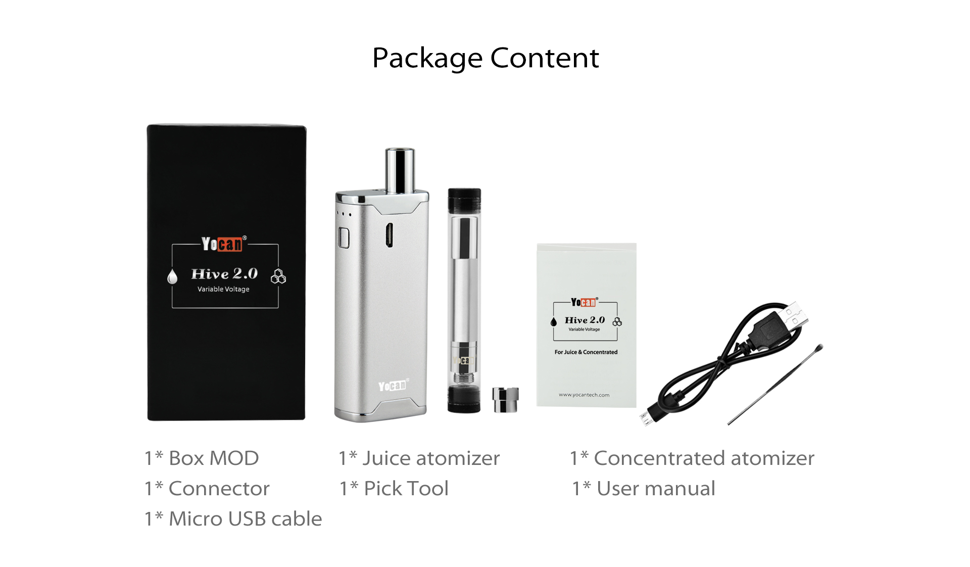 Package Content of Yocan Hive 2.0 Box Mod