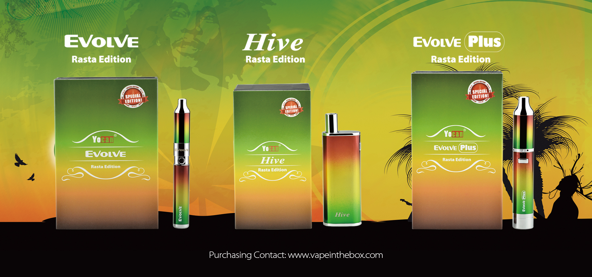 The Yocan Evolve Plus Rasta Edition is a new special edition version of the crowd favorite Evolve Plus.