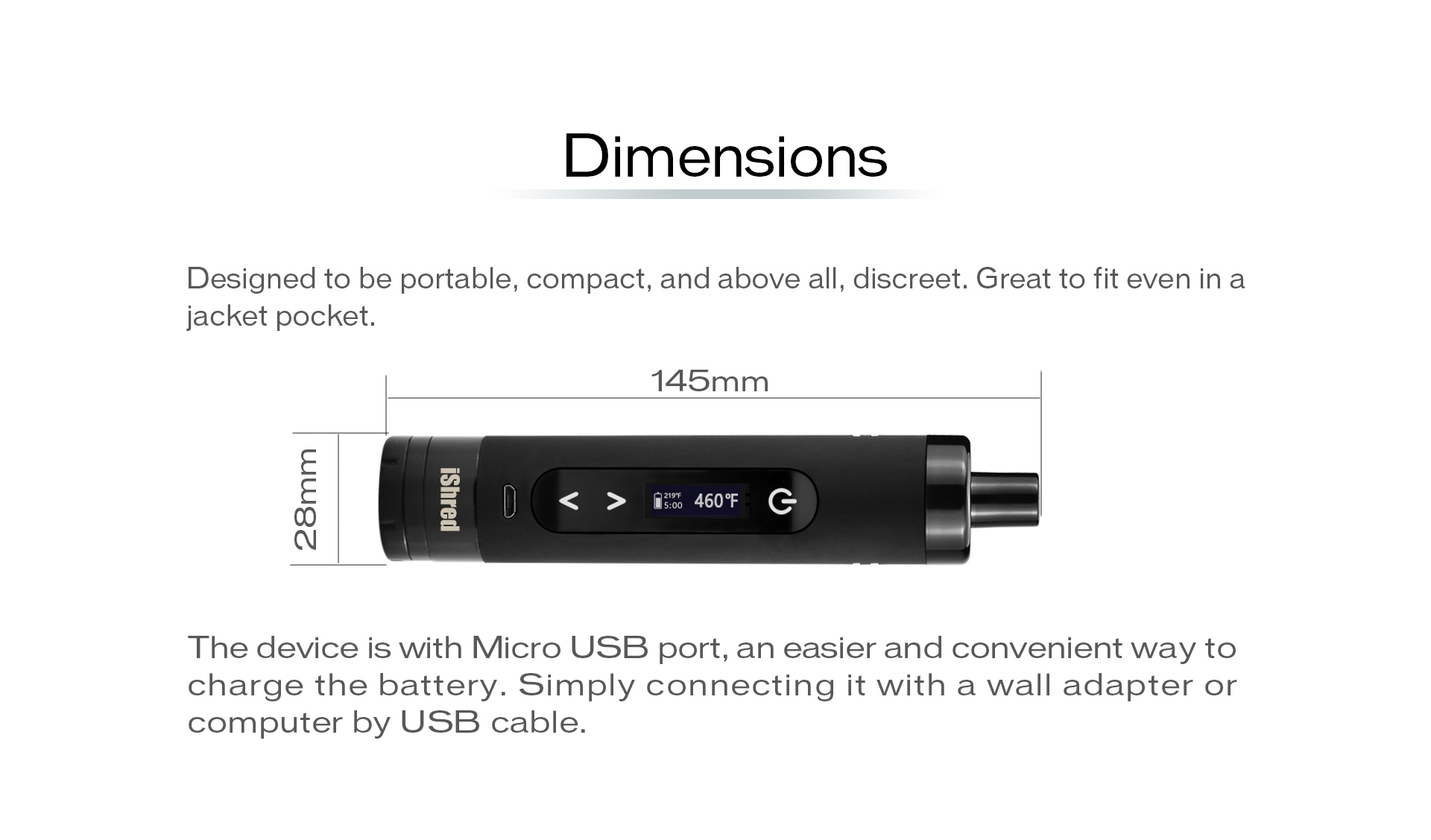 Yocan iShred designed to be portable, compact, and above all, discreet.