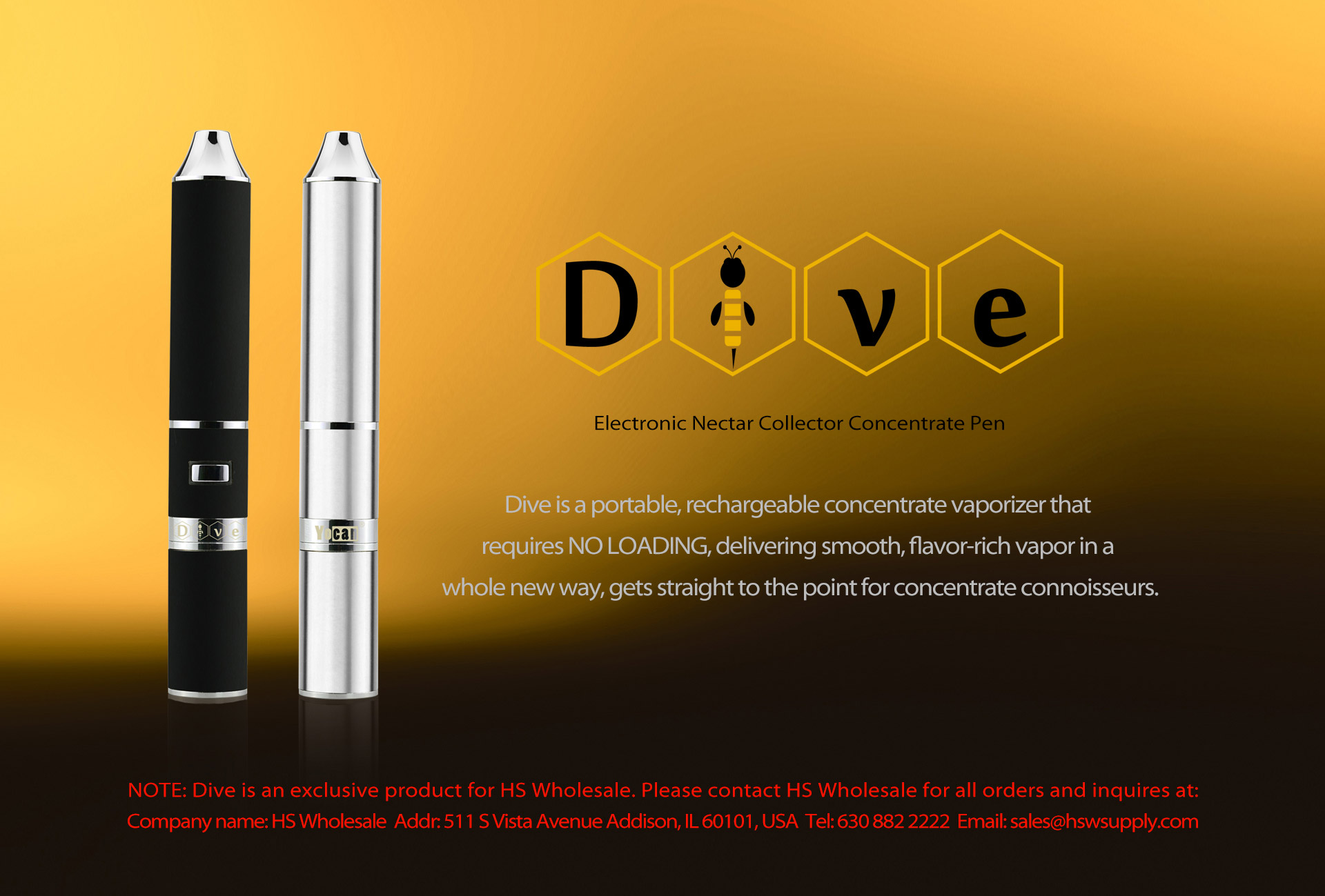 Yocan Dive is an electronic nectar collector concentrate pen.