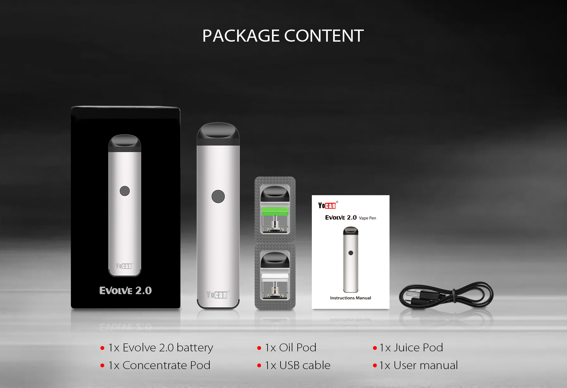 The Package Content of Yocan Evolve 2.0