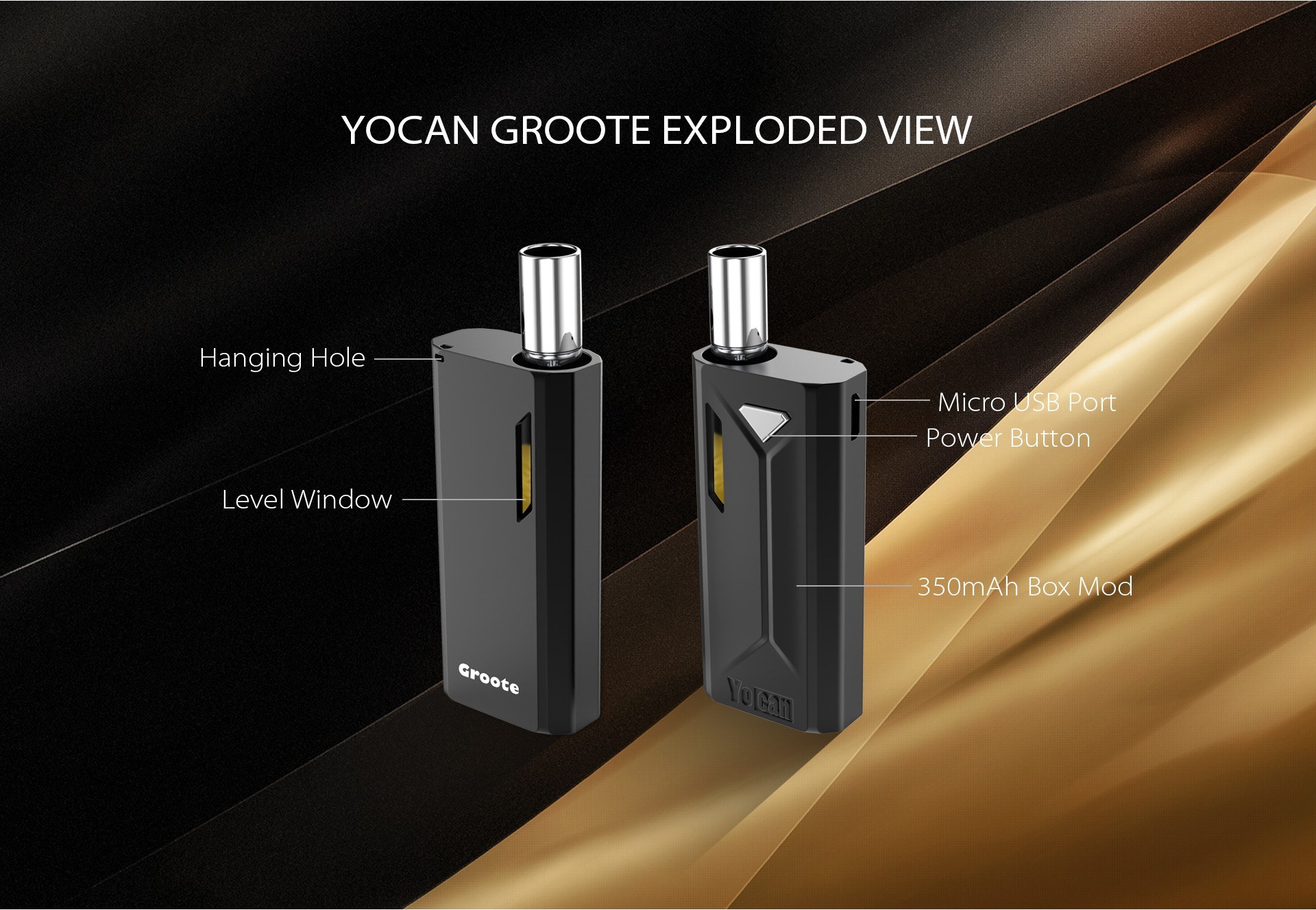 The Yocan Groote box mod exploded view.