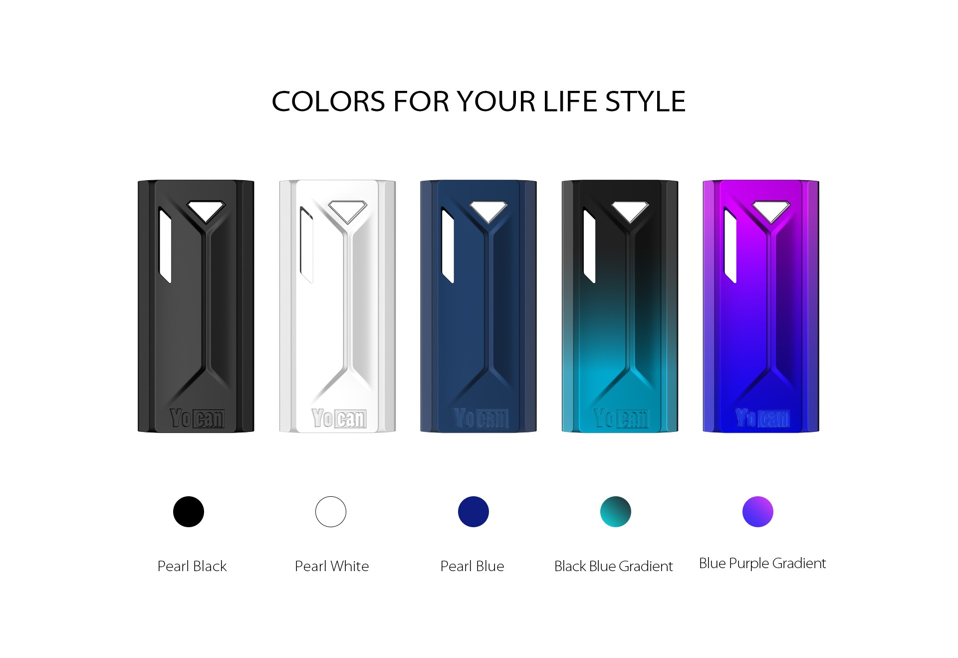 The Yocan Groote box mod battery come with 5 colors.