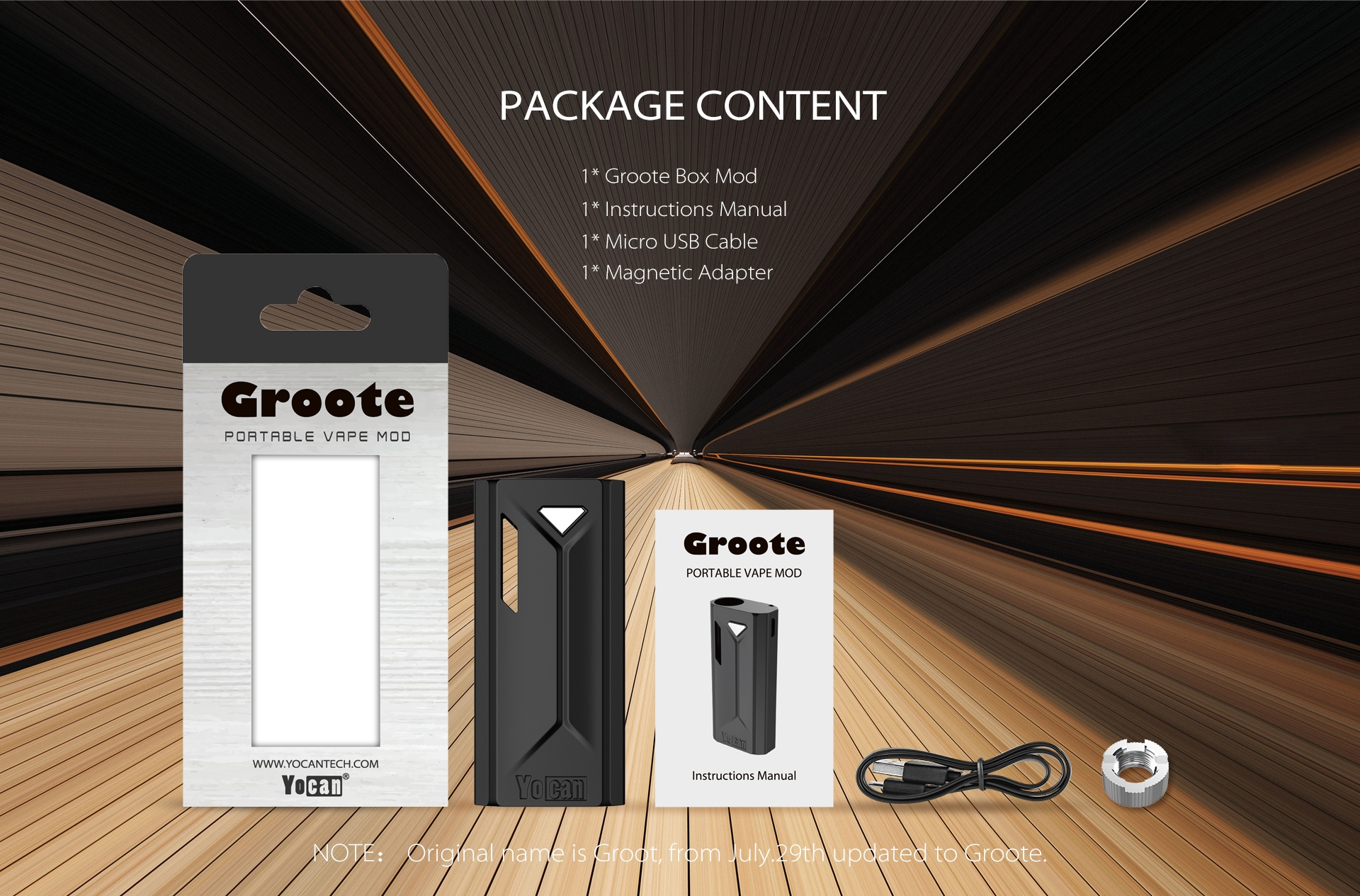 The Yocan Groote box mod battery package content.