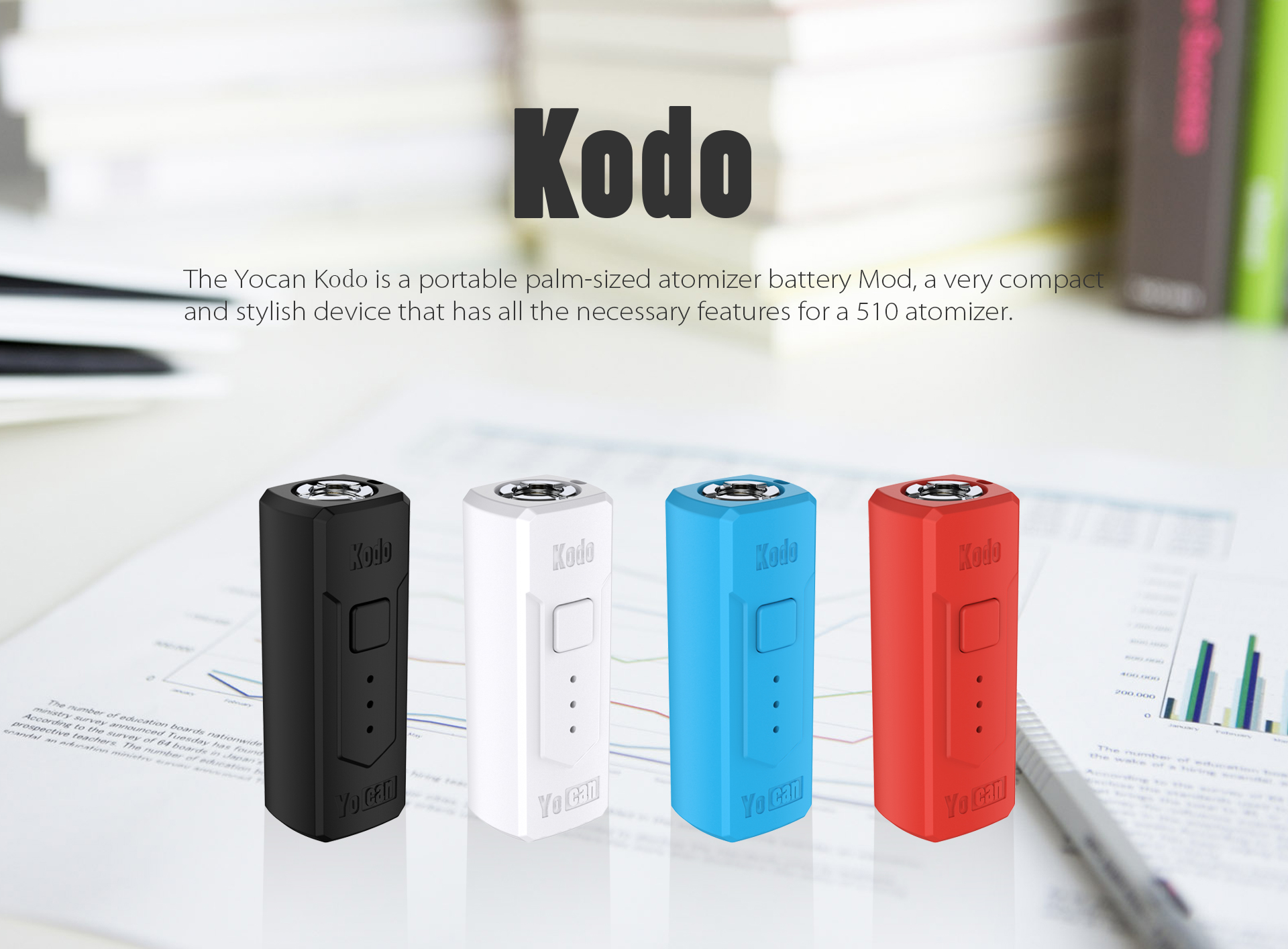 The Yocan Kodo Box Mod Battery is a portable palm-sized atomizer battery mod, it's a very compact and stylish vaporizer.