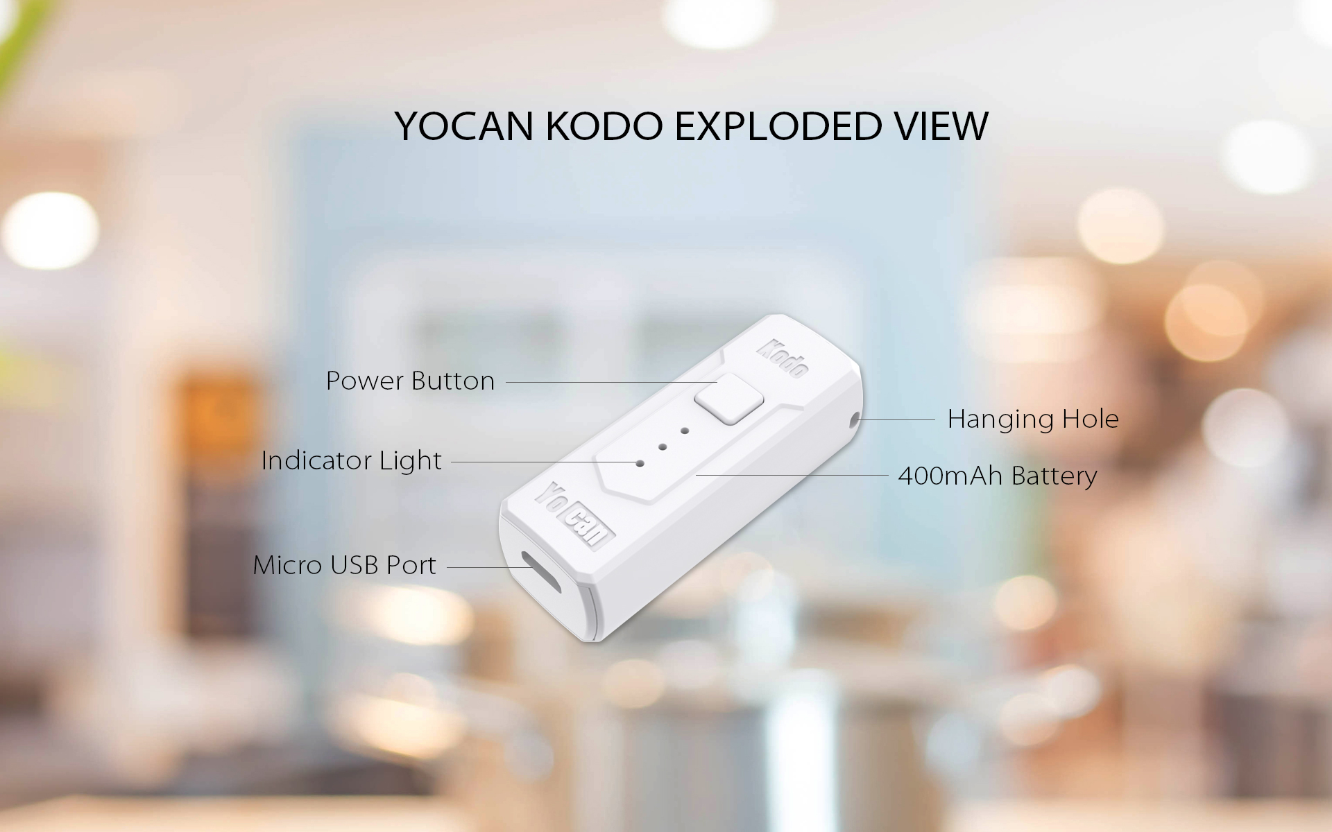 The Yocan Kodo Box Mod Battery exploded view.