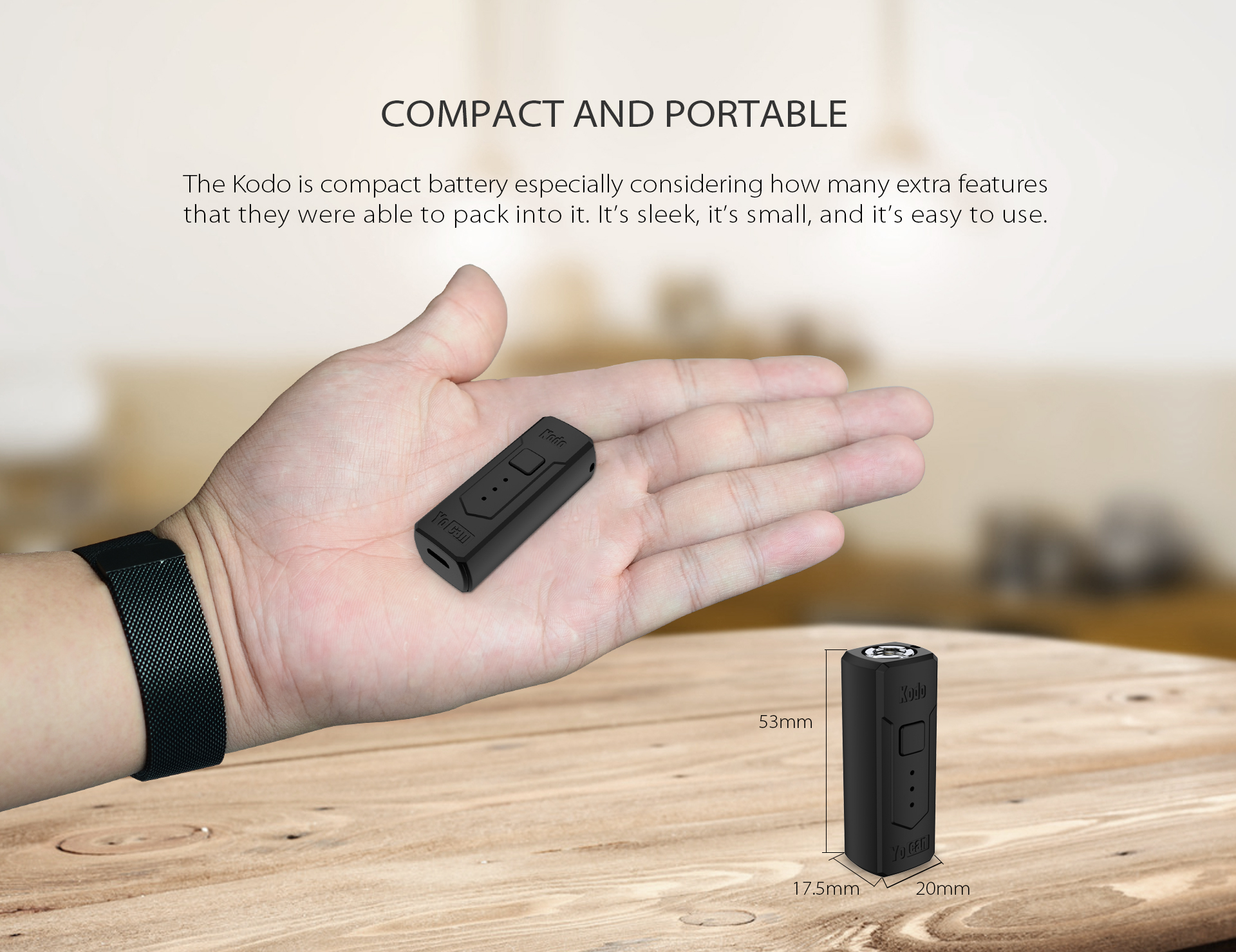 The Yocan Kodo Box Mod Battery is compact and portable.