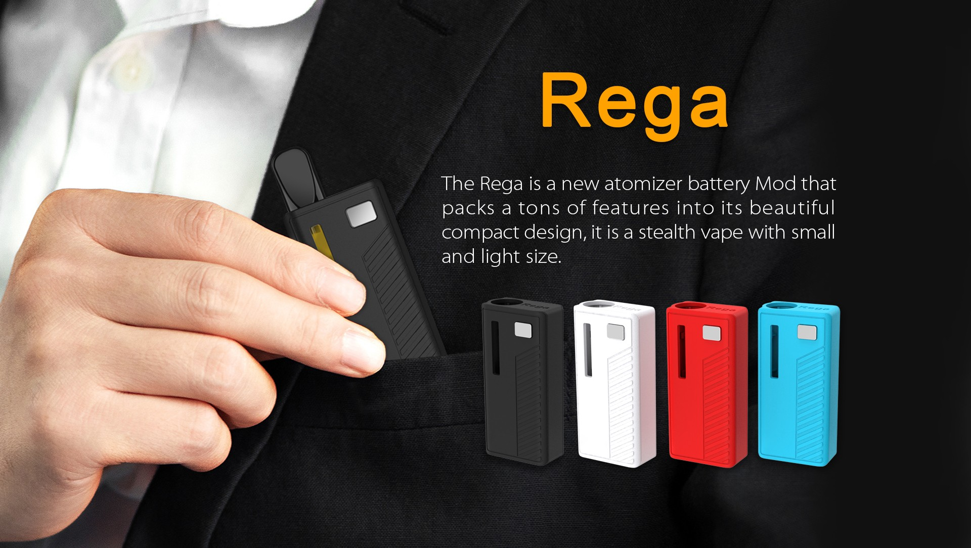 The Rega is a new atomizer battery Mod that packs a tons of features into its beautiful compact design, it is a stealth vape with small and light size.