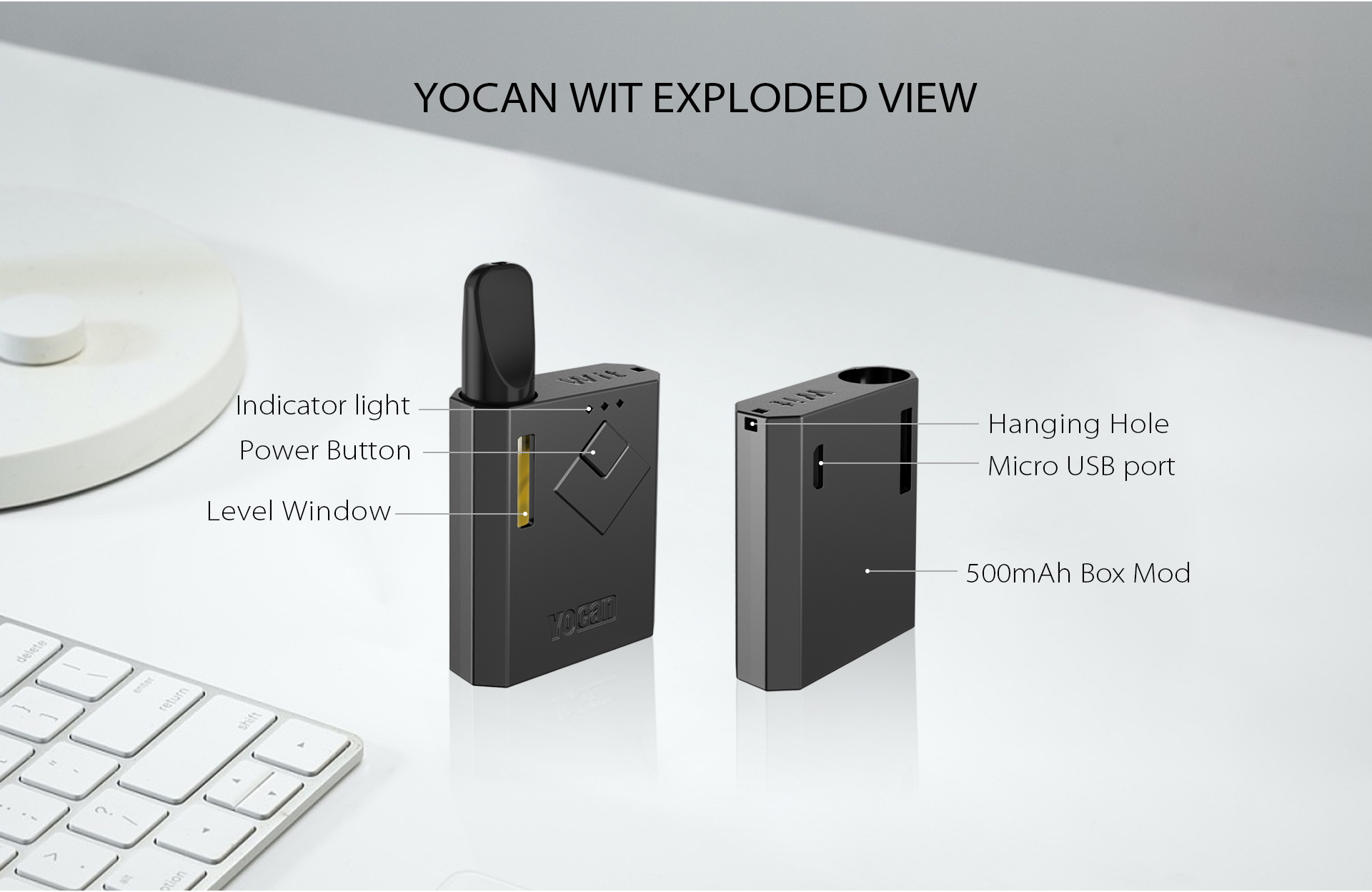 The Yocan Wit Box Mod Battery exploded view.