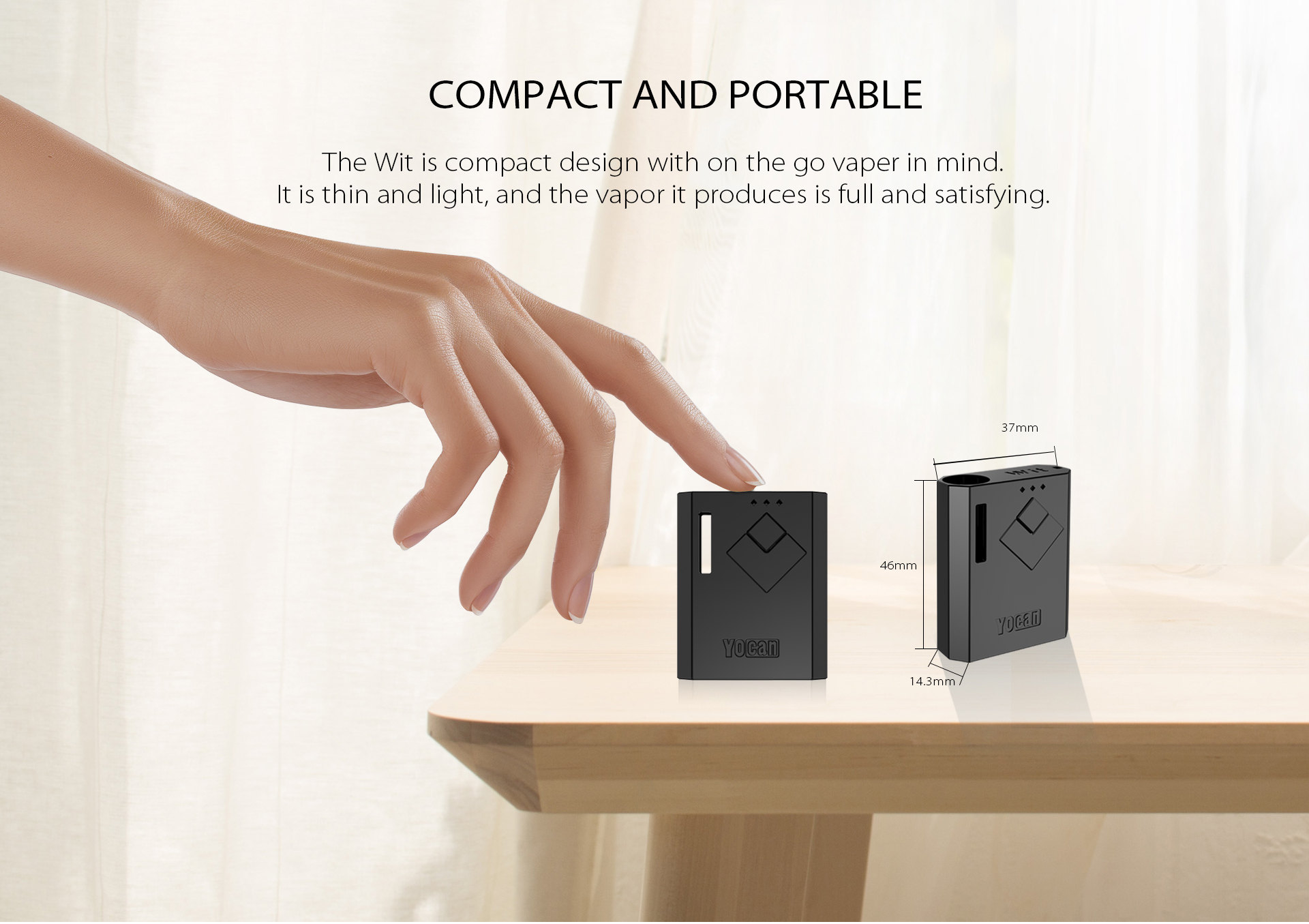 The Yocan Wit Box Mod Battery is compact and portable design.