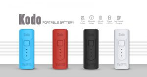 The Yocan Kodo Box Mod Battery come with 4 colors: black, white, blue, red version.