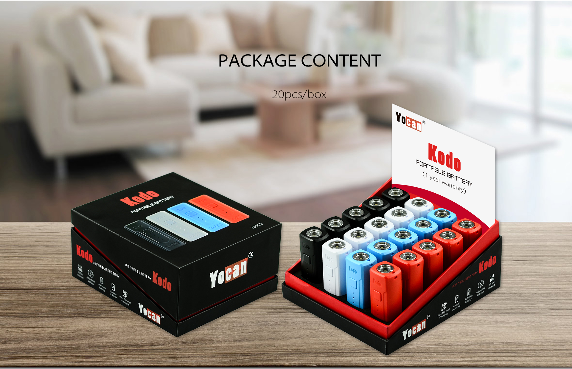 The Yocan Kodo Box Mod Battery package content: 20pcs in one box.