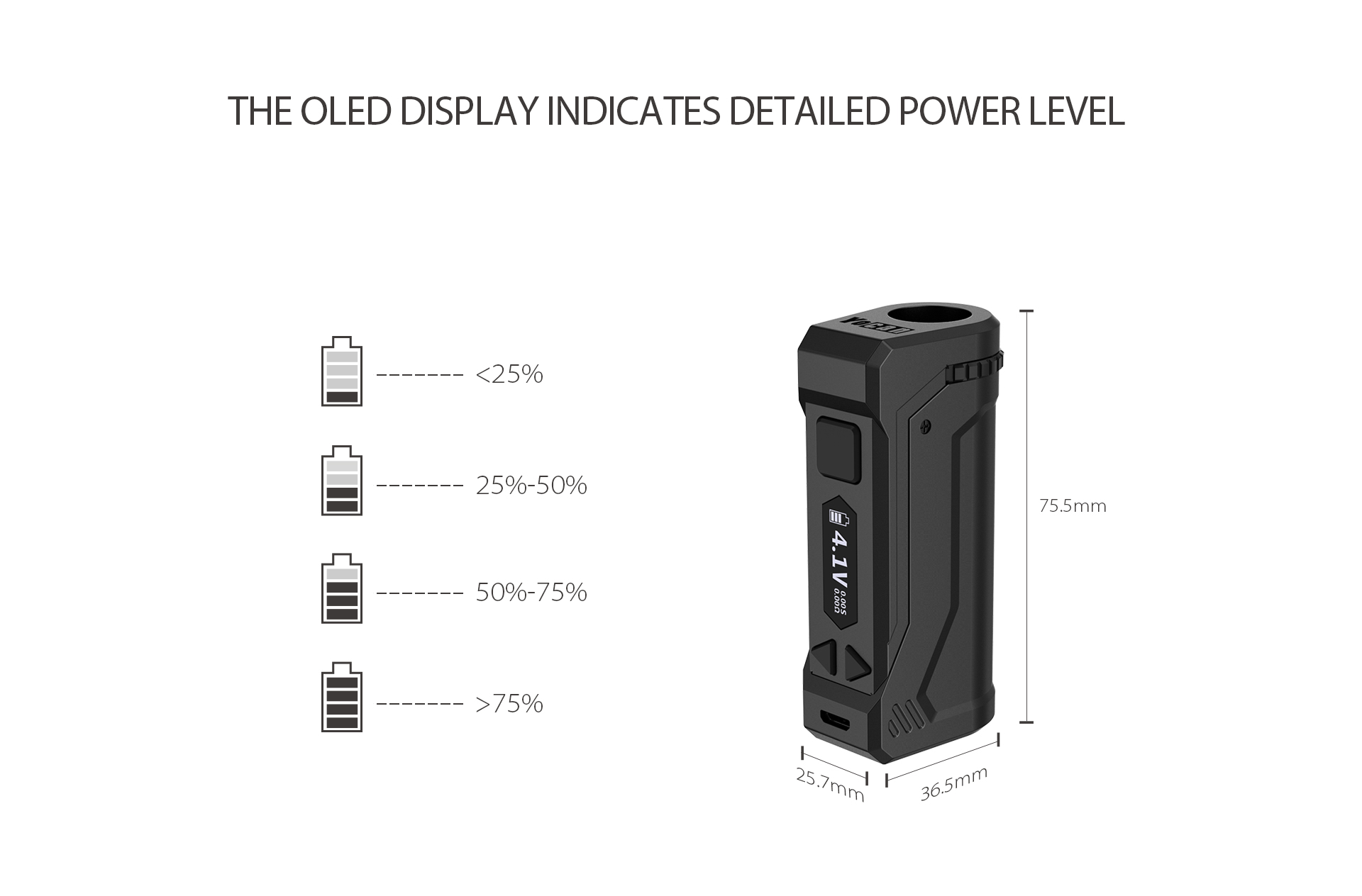 The UNI Pro display detailed power level to let you know the specific battery life and and charging status.