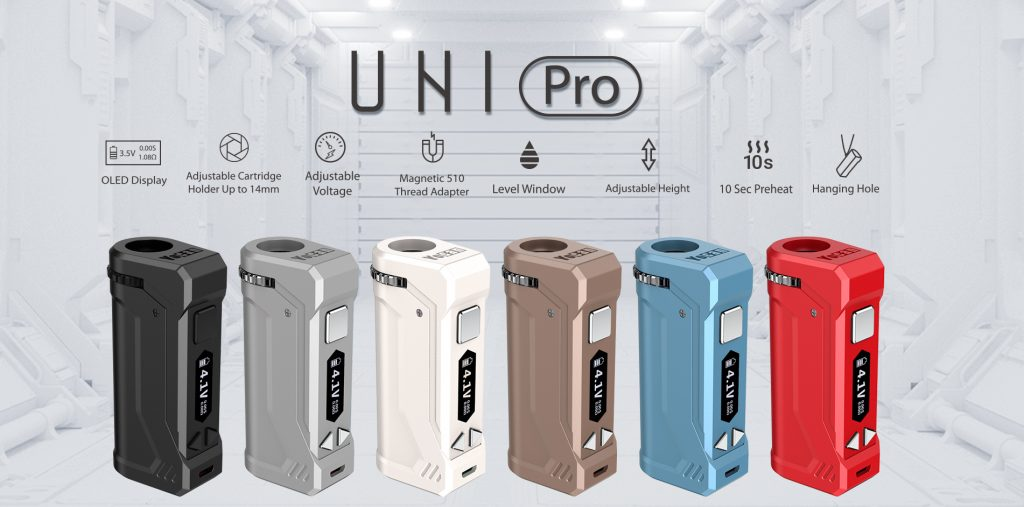 Yocan UNI Pro is a Patented universal width and height adjustable Box Mod