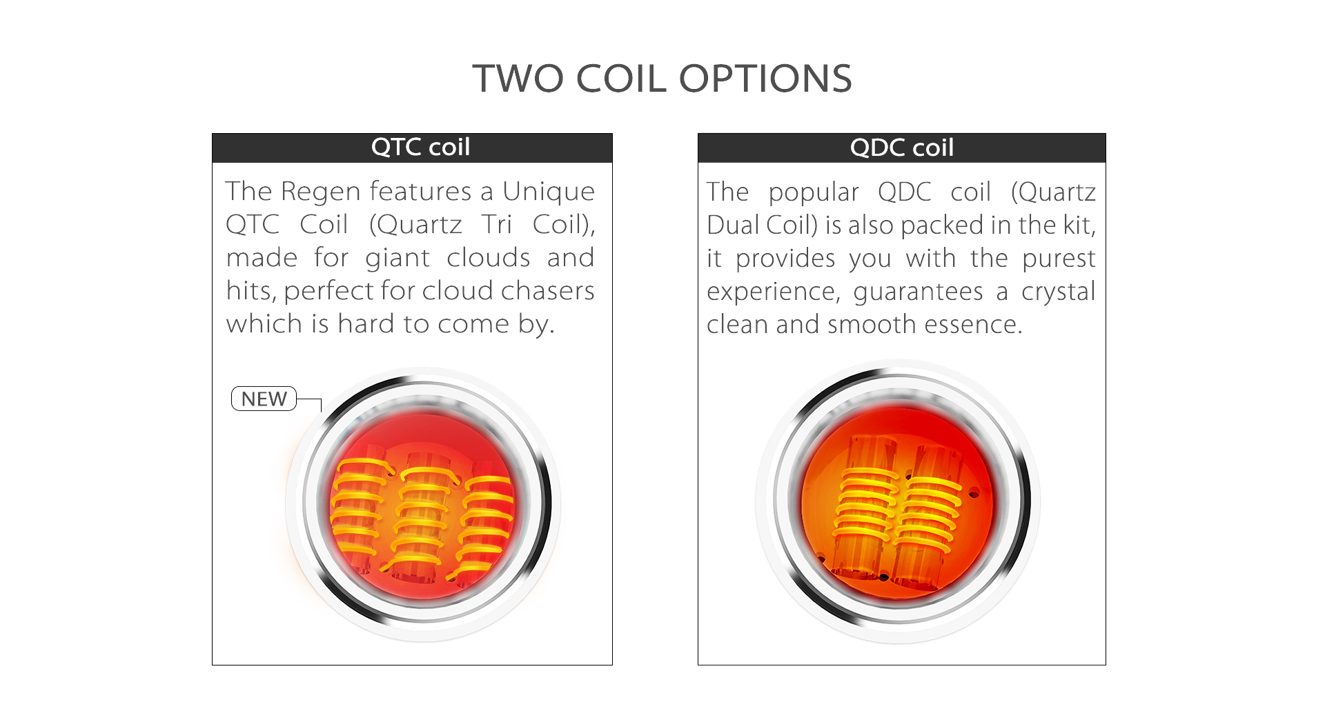 The Yocan Regen vaporizer pen provide two coil options: QTC (Quart Tri Coil) and QDC (Quartz Dual Coil).