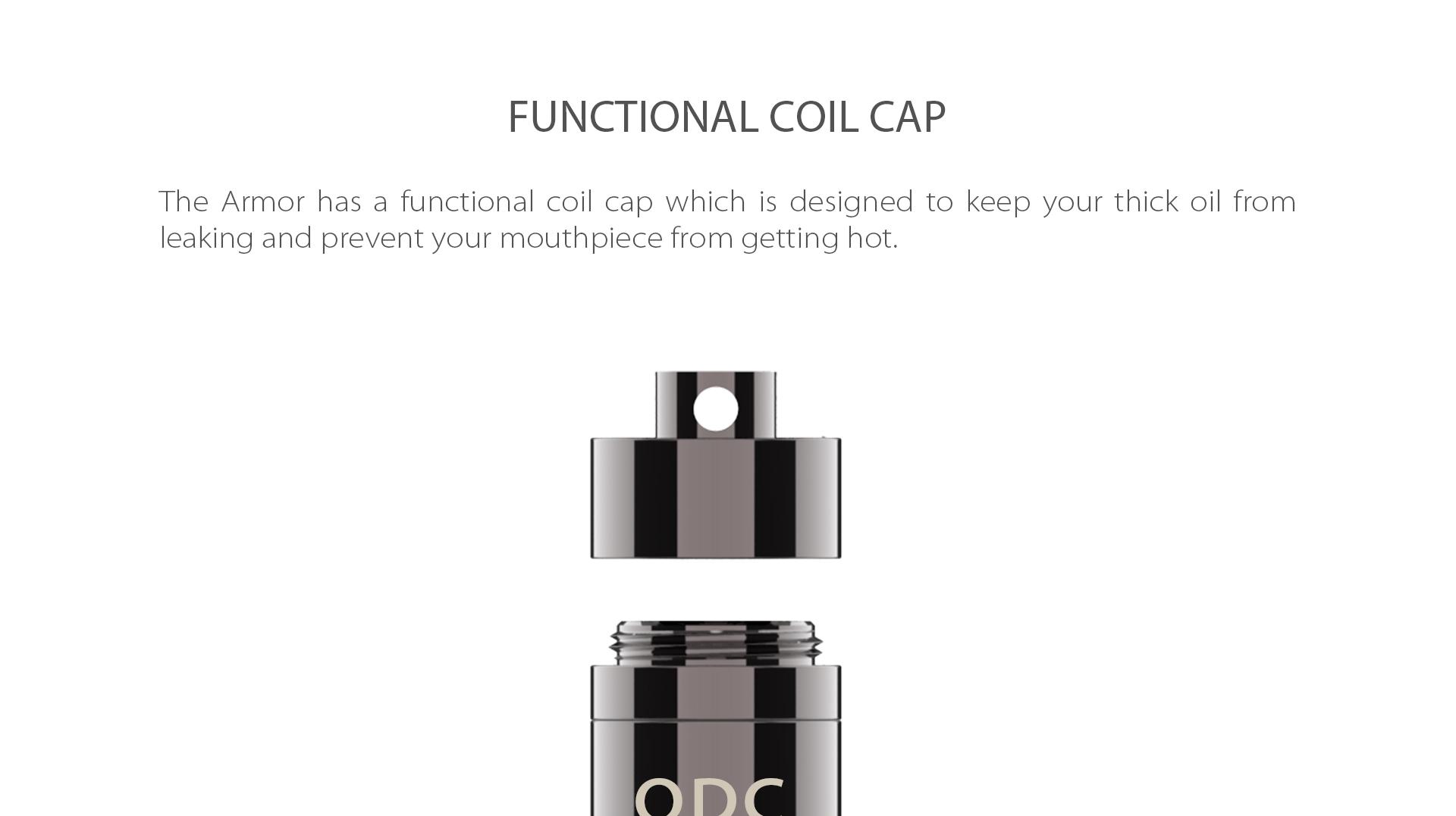 Yocan Armor Vaporizer pen has a functional coil cap.