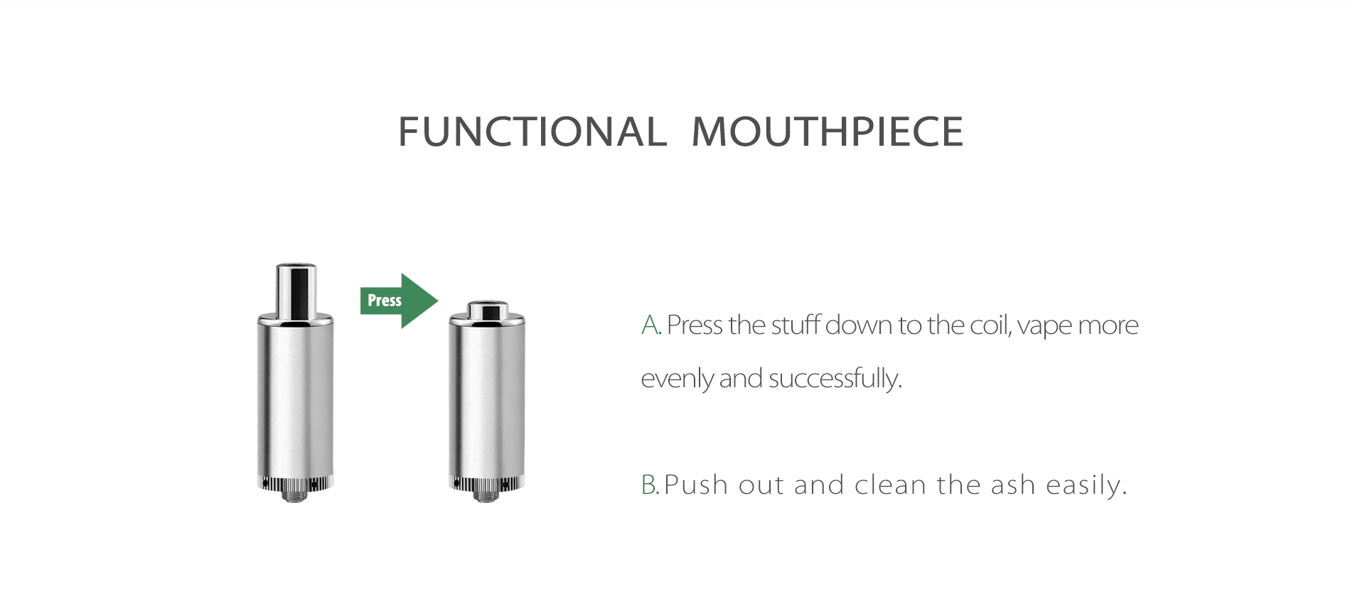 Yocan Evolve-D Plus vaporizer pen 2020 version features a multi-functional mouthpiece that can be used to rotate the material inside closer to the heating element or to quickly remove