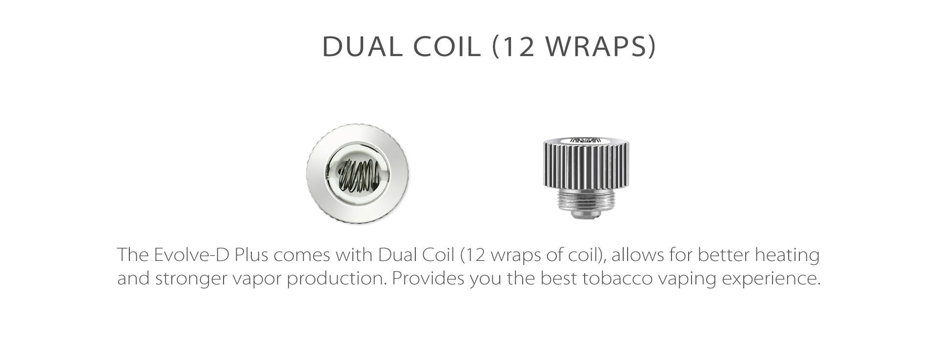 Yocan Evolve-D Plus vaporizer pen 2020 version comes with dual coi.
