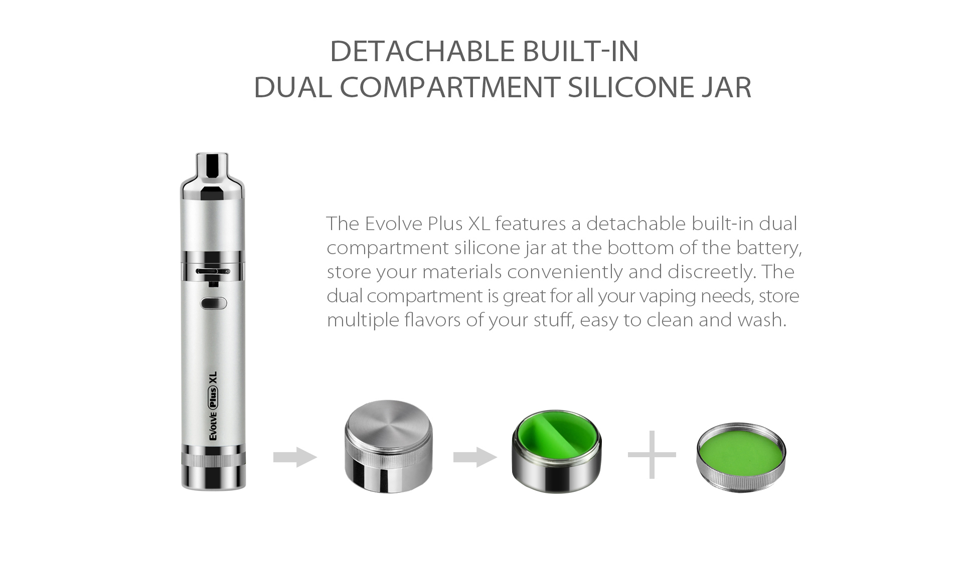 Yocan Evolve Plus XL Vaporizer 2020 version features a detachable built-in dual compartment silicone jar at the bottom of the battery.