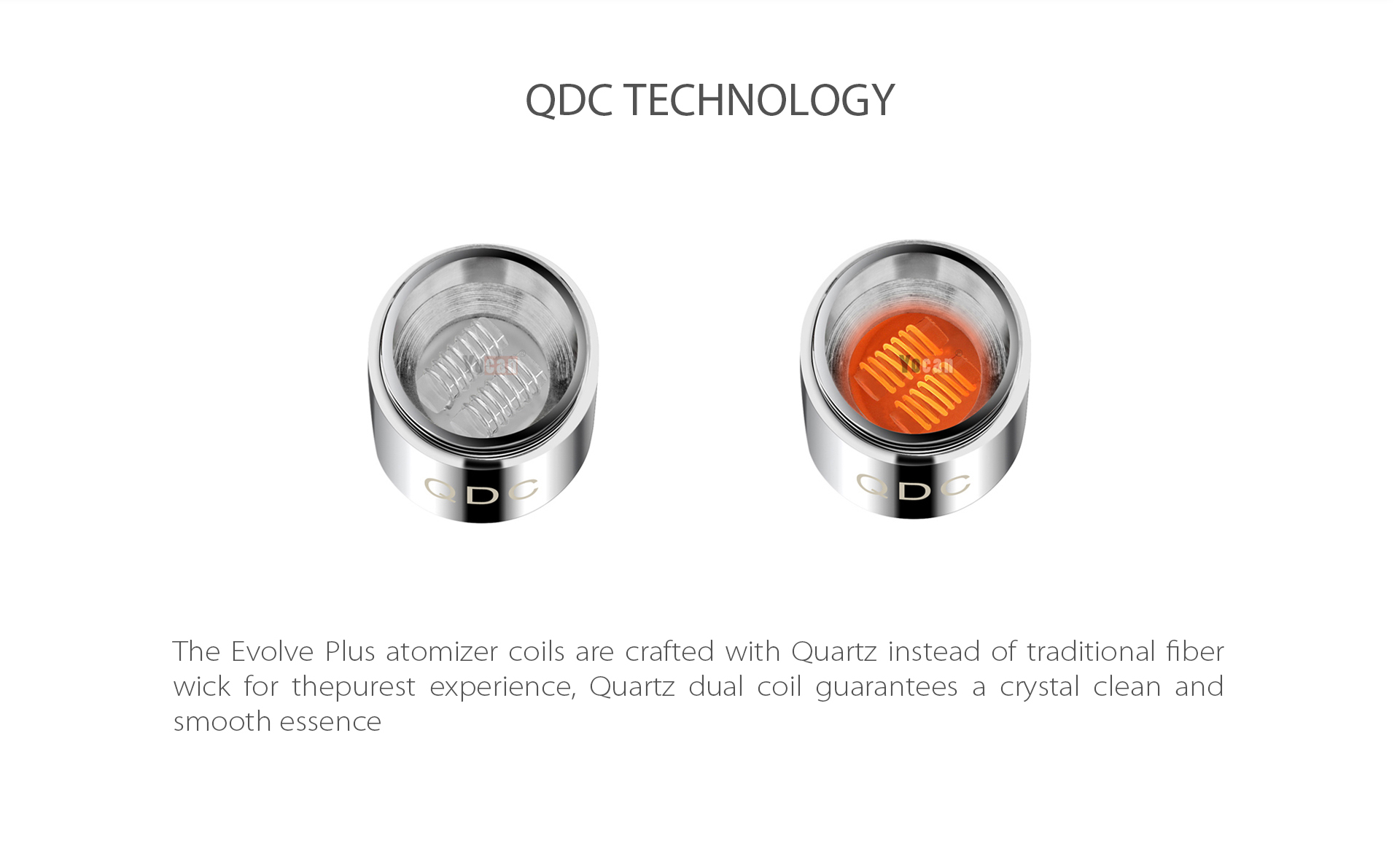 Yocan Evolve-Plus vaporizer pen 2020 version features Quartz Dual Coil (QDC) Technology.