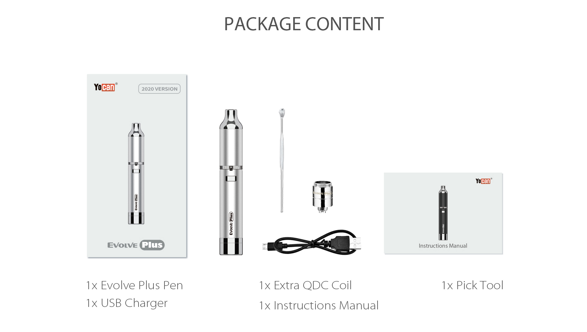 Yocan Evolve Plus XL Vaporizer 2020 version package content.