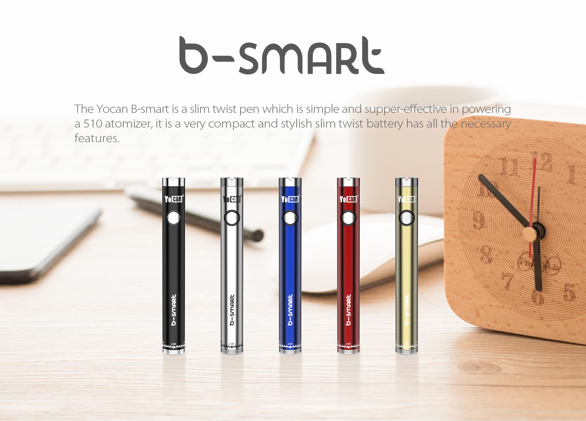 Yocan B-smart vape pen battery is slim twist vape pen.