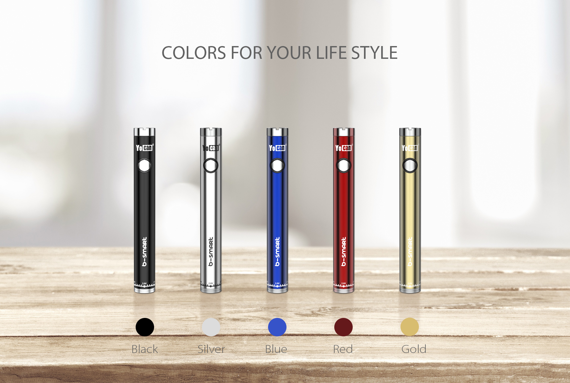 Yocan B-smart vape pen battery come with 5 colors.