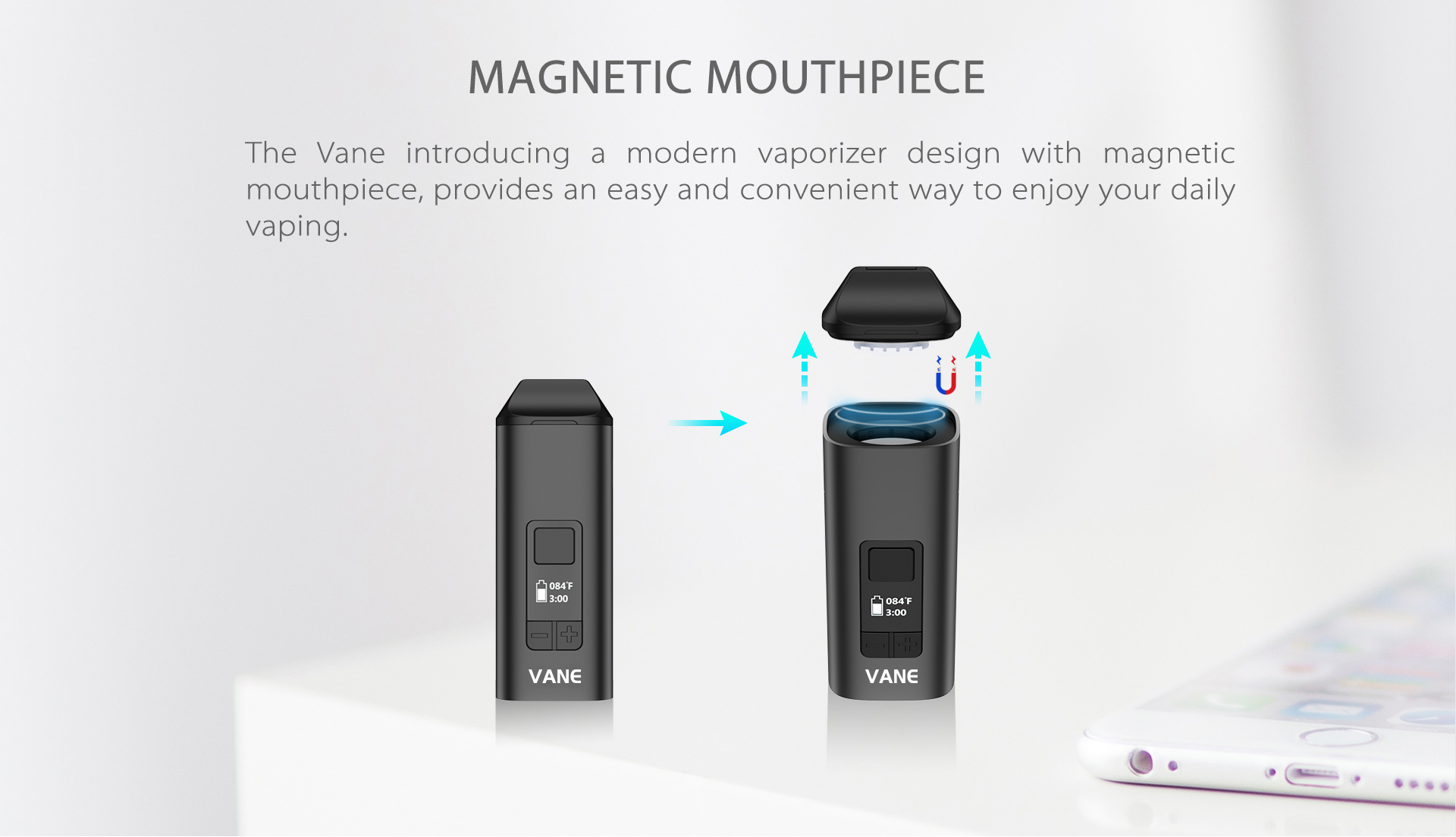 Yocan Vane Dry Vaporizer introducing a modern vaporizer design with magnetic mouthpiece