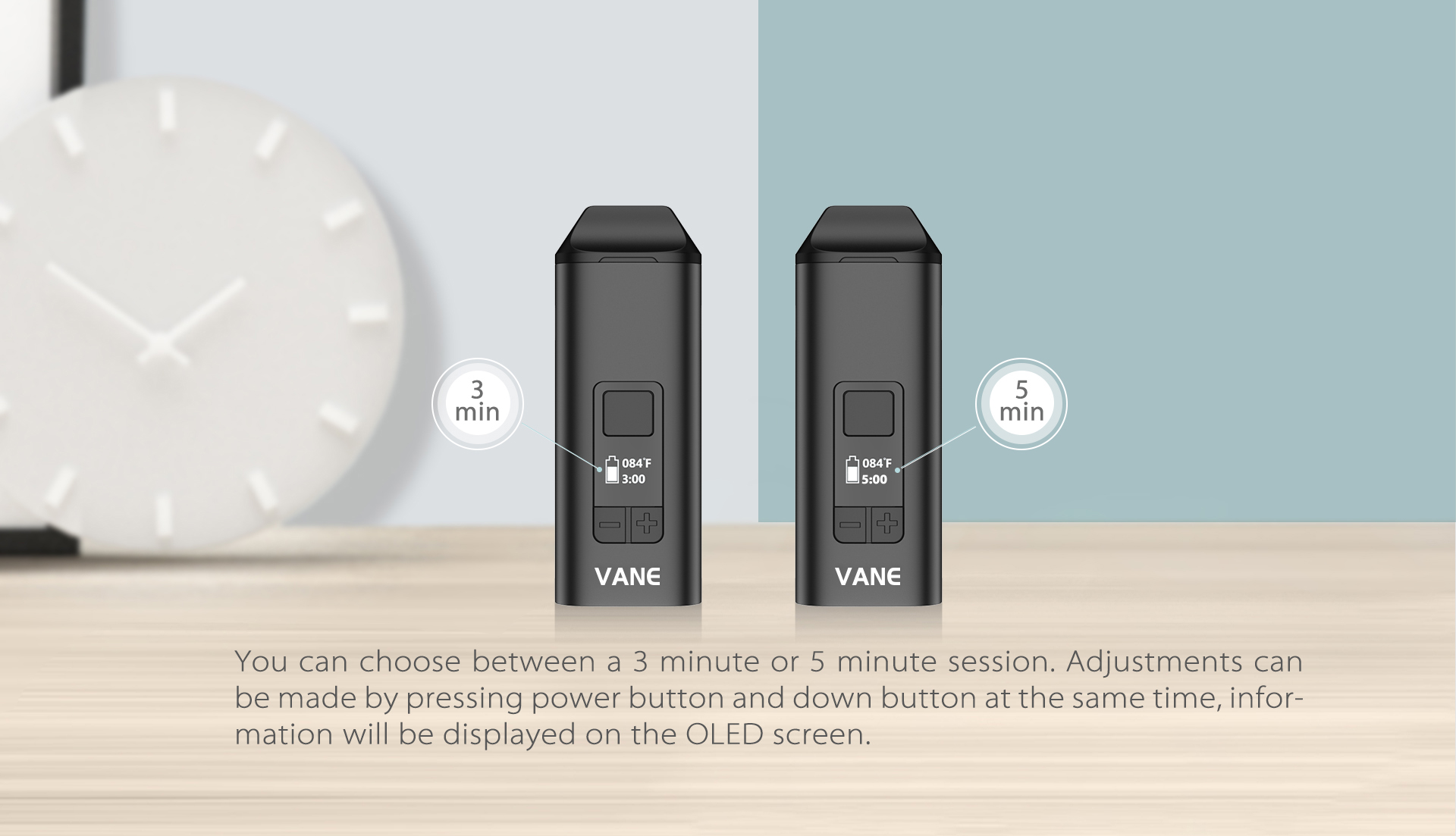 Yocan Vane Dry Vaporizer two vaping options: 3 minute or 5 minute session