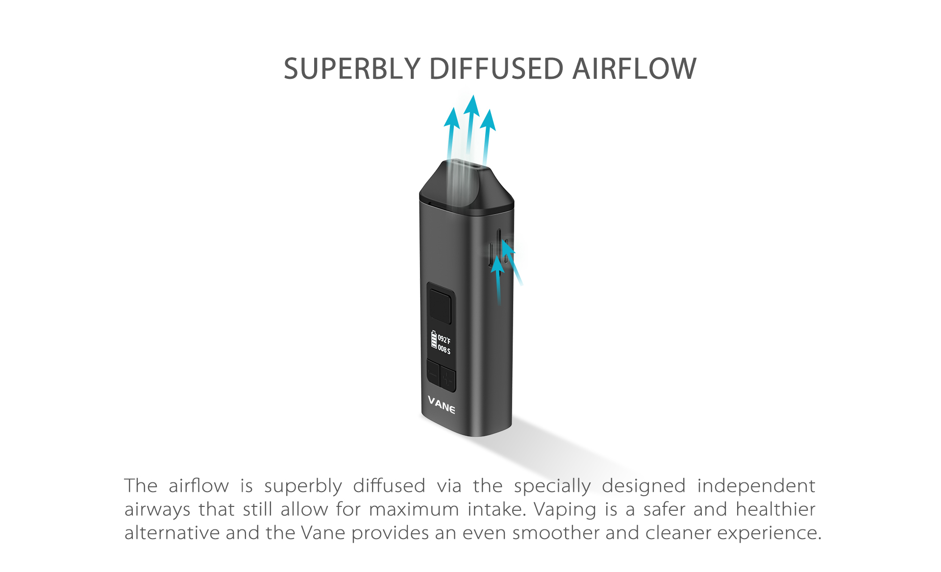 The Yocan Vane Dry Vaporizer airflow is superbly diffused