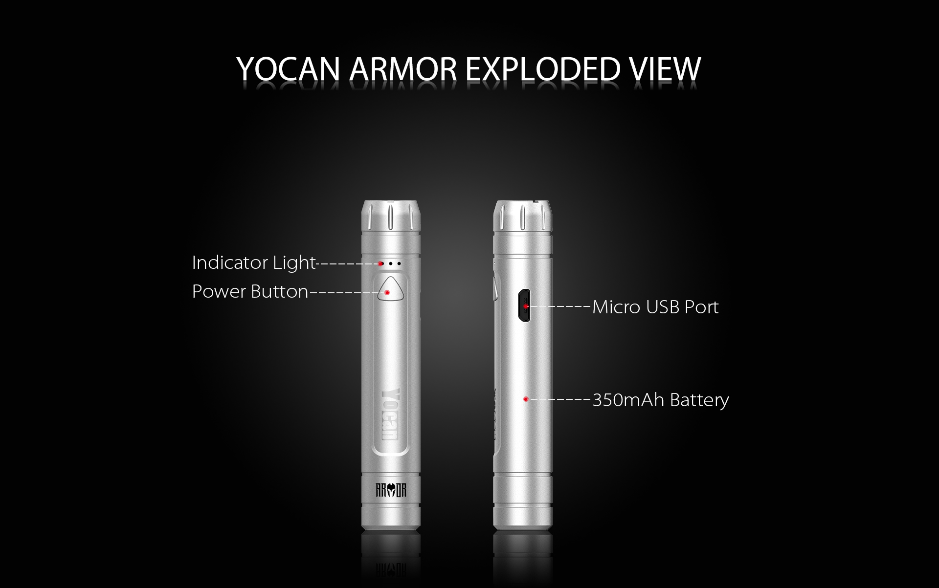 Yocan Armor 510 Thread Battery exploded view.