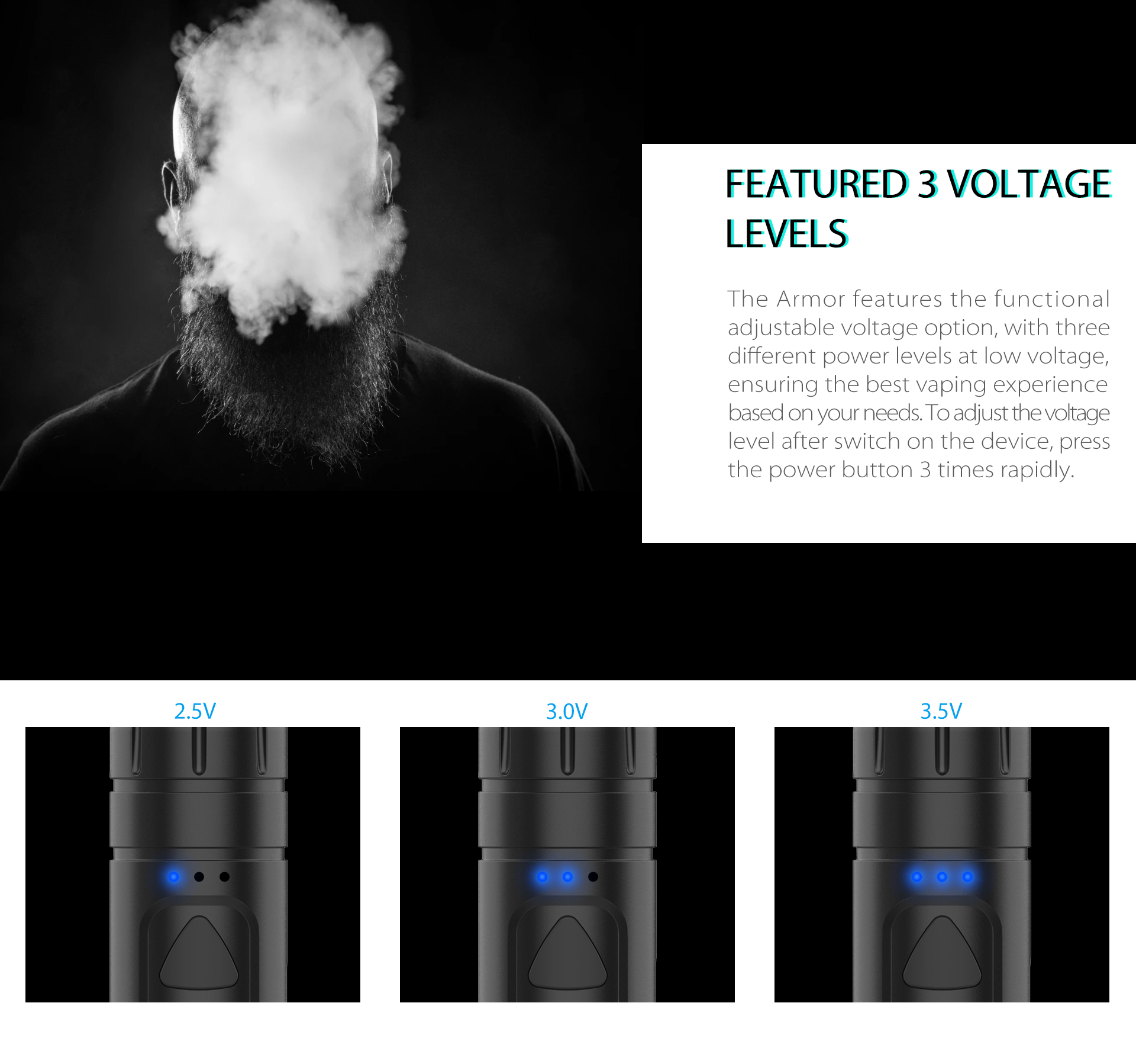 Yocan Armor 510 Thread Battery featured 3 presetting voltage levels.