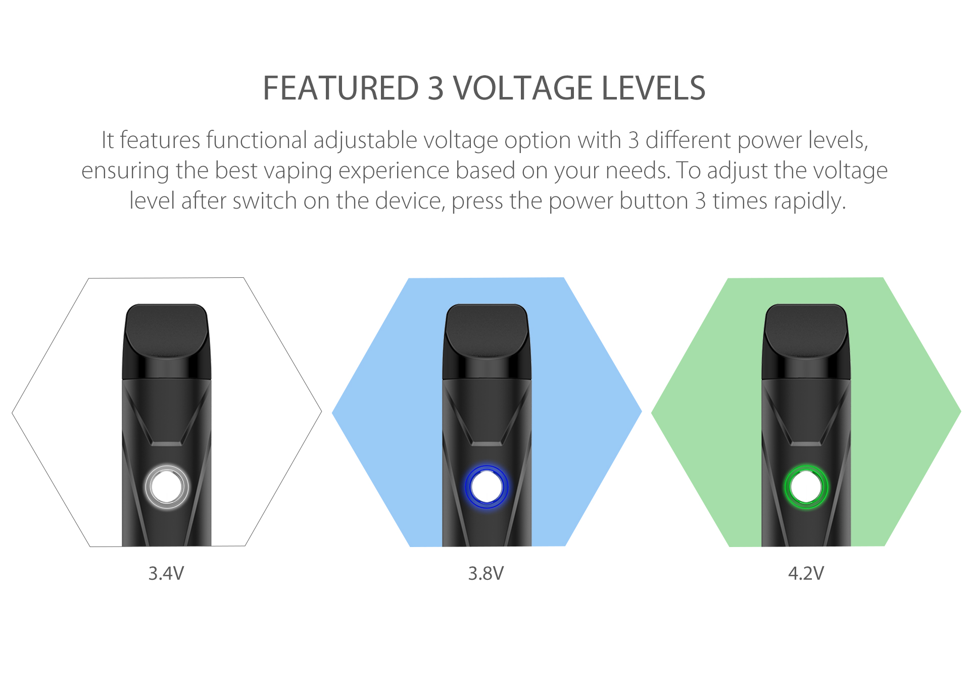 Yocan X Pod System features functional adjustable voltage option with 3 different power levels
