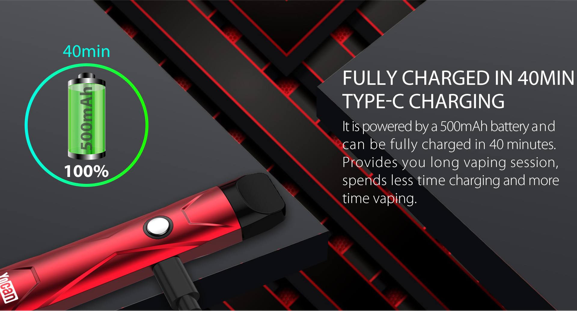 Yocan X Pod System feature Fully Charged in 40Min- Type-C Charging