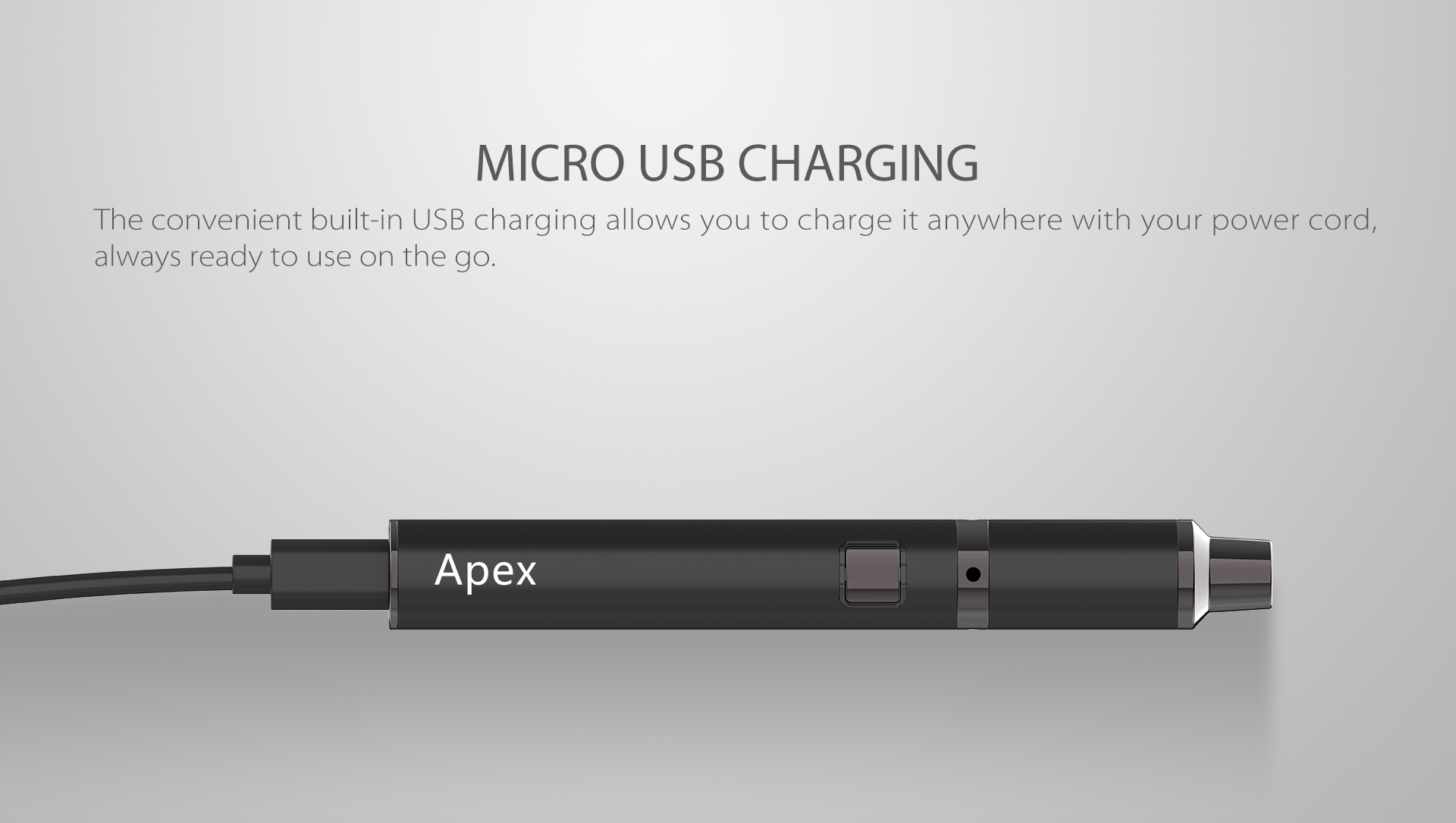 Yocan Apex concentrate vaporizer pen charge via micro USB port.